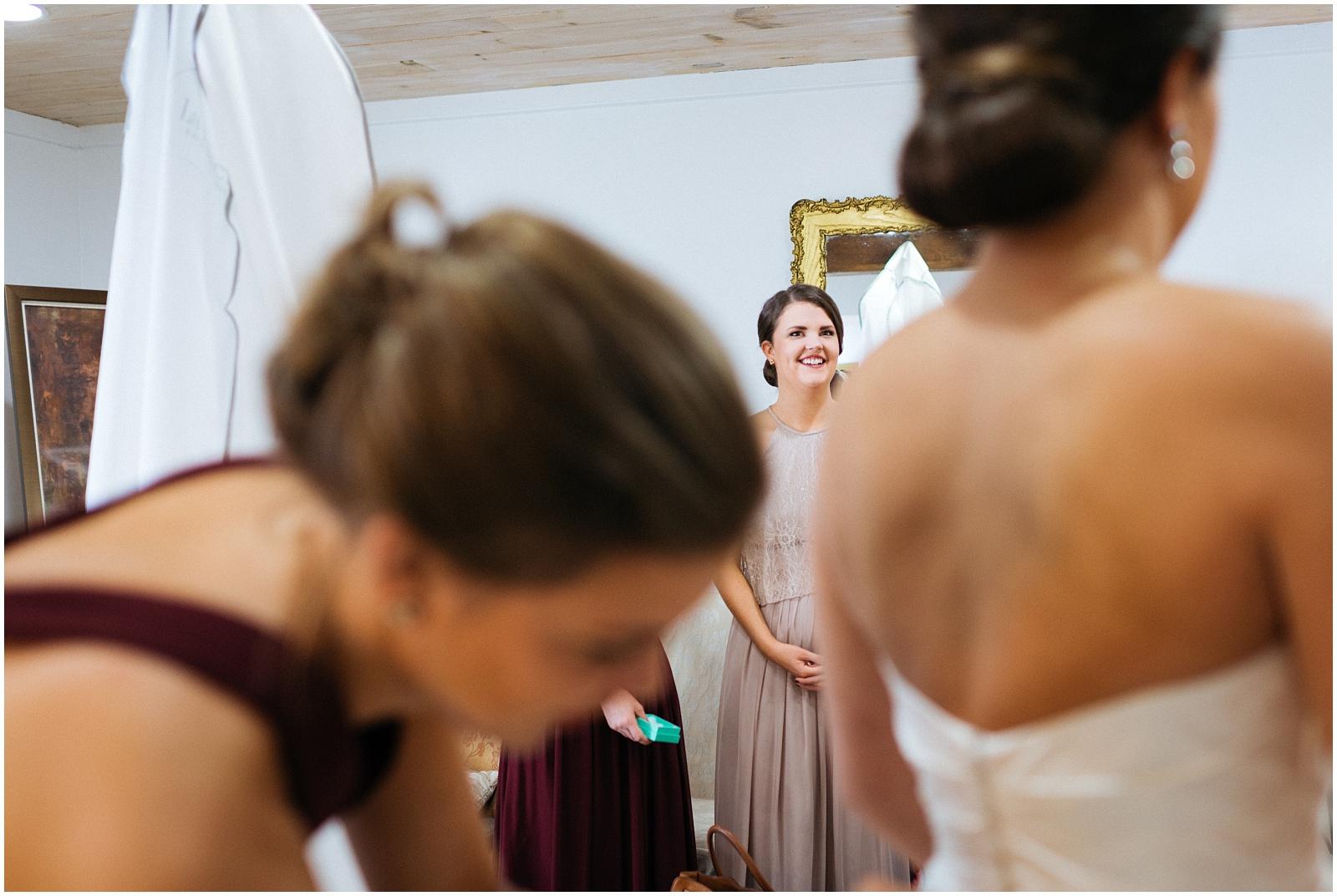 Bridesmaid watching