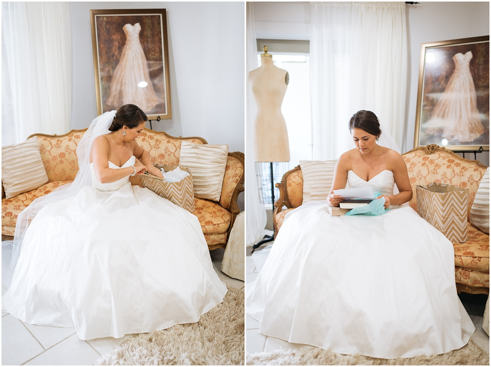 Bride opening gift collage