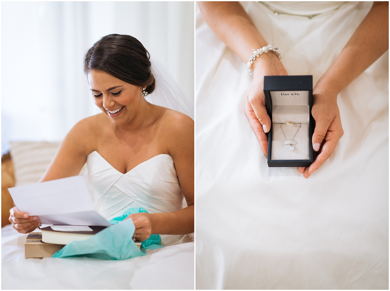 Candid bride with present