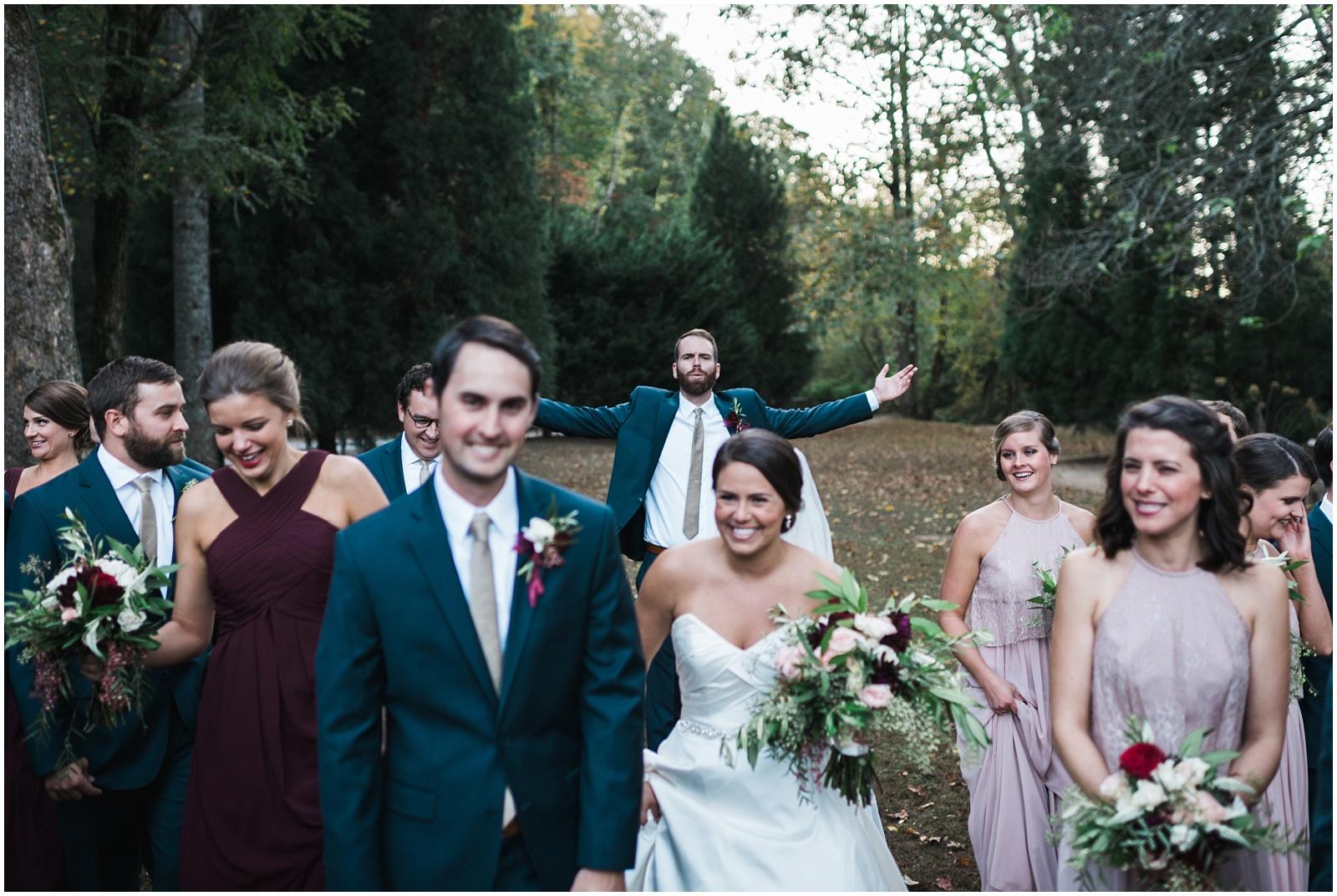 Wedding party walking candid