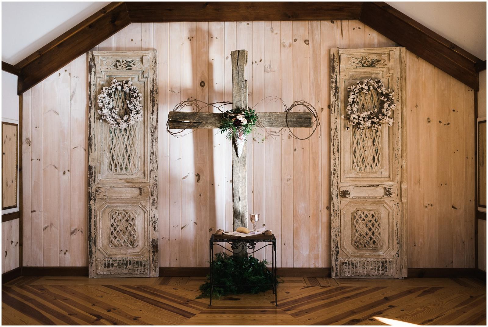 Cross closeup in wedding chapel