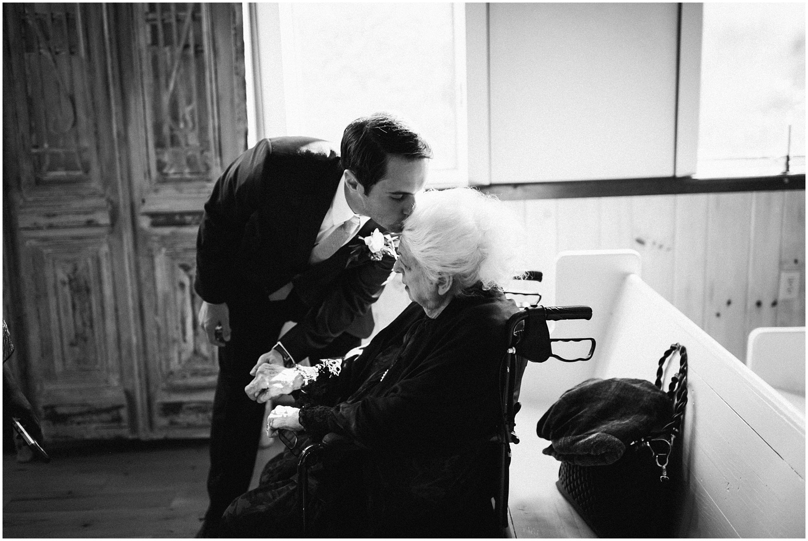 Groom and grandmother candid moment