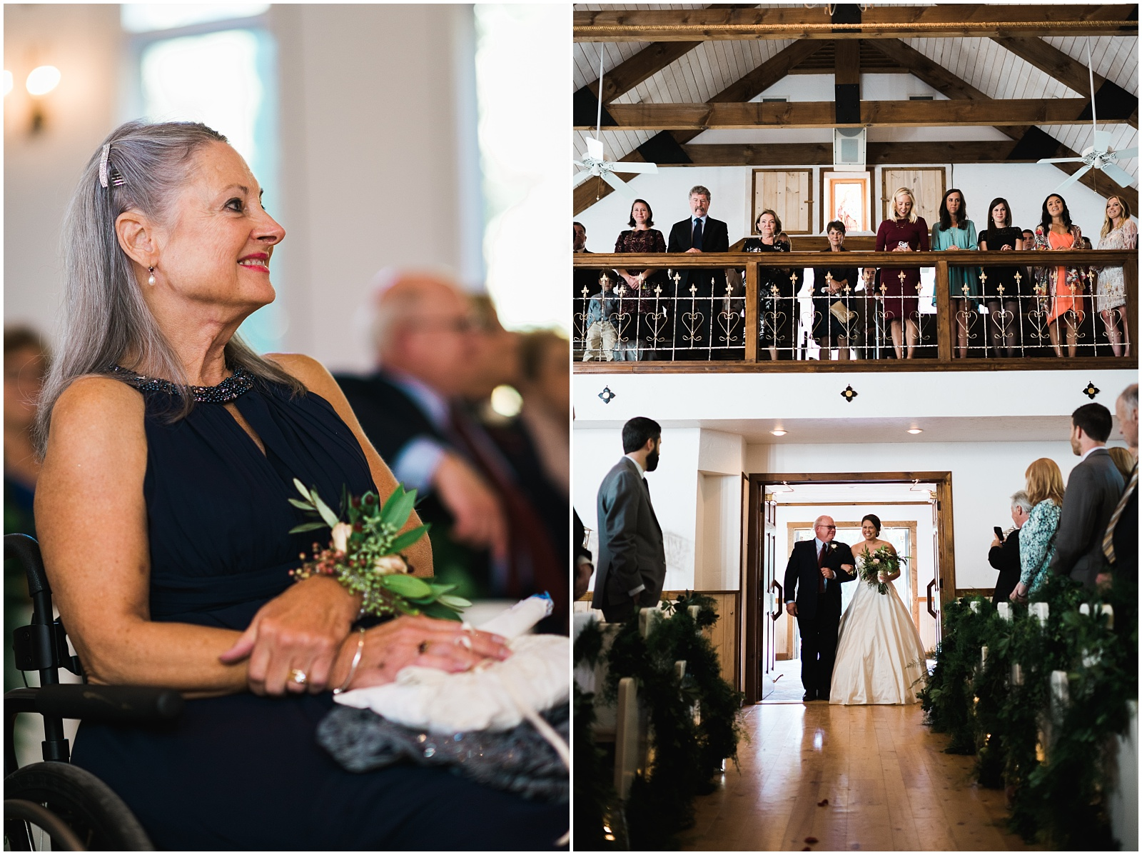 Collage of walking down aisle