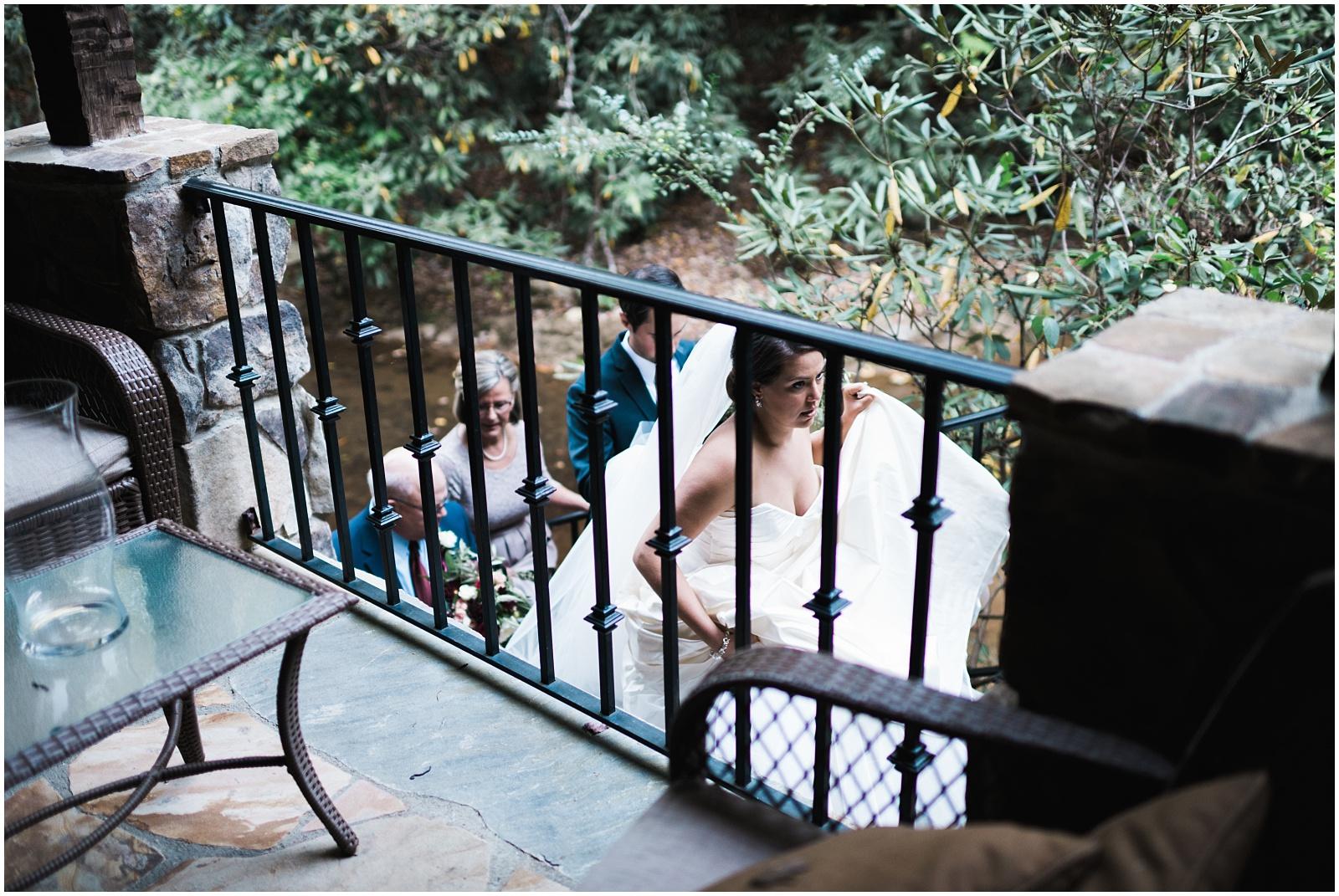 bride walking up stairs