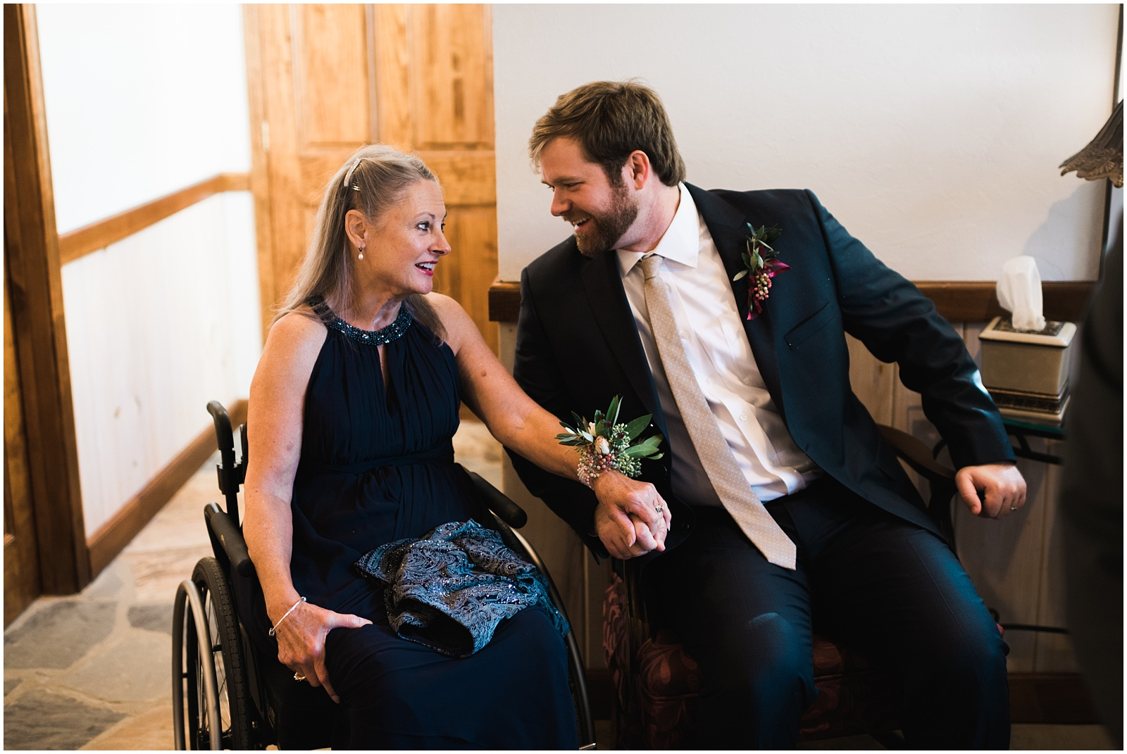 Mother and groomsman candid