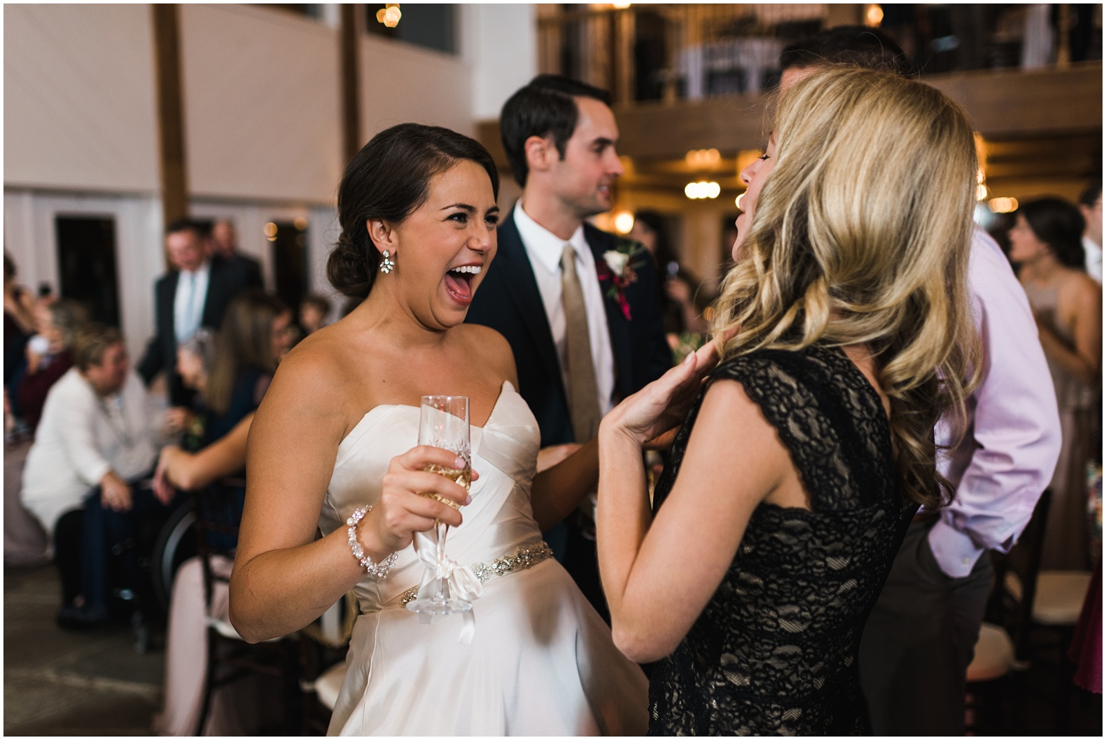 Candid with bride and friend