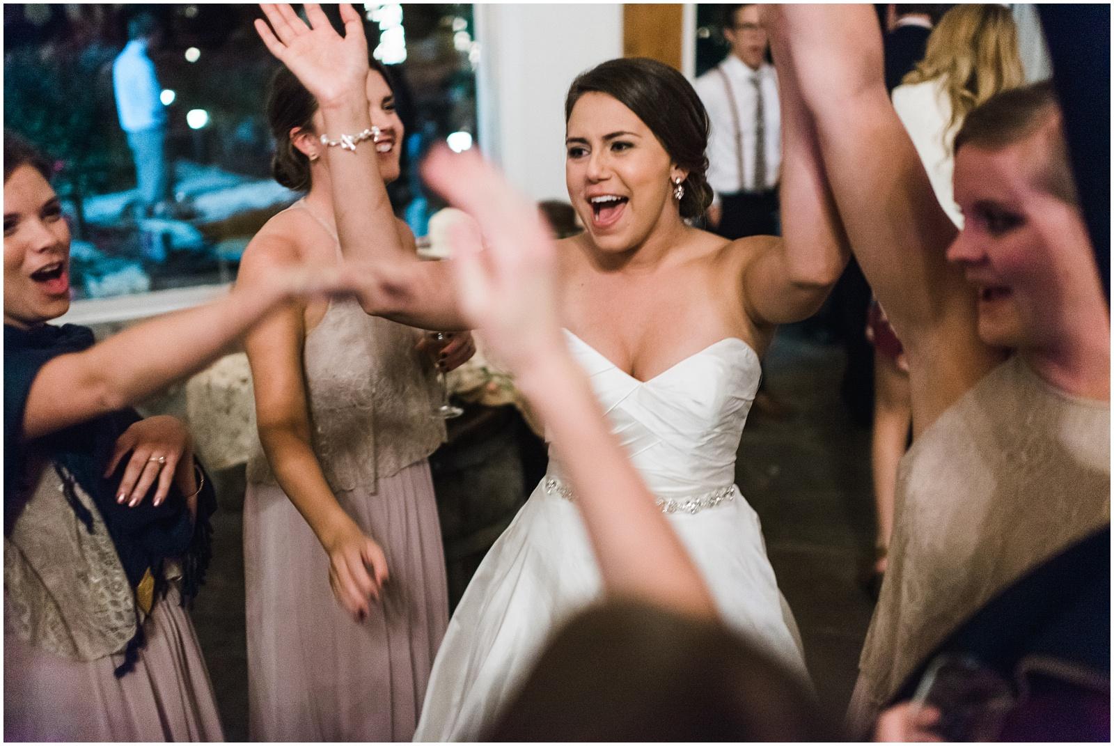 Bride and bridesmaids final goodbye