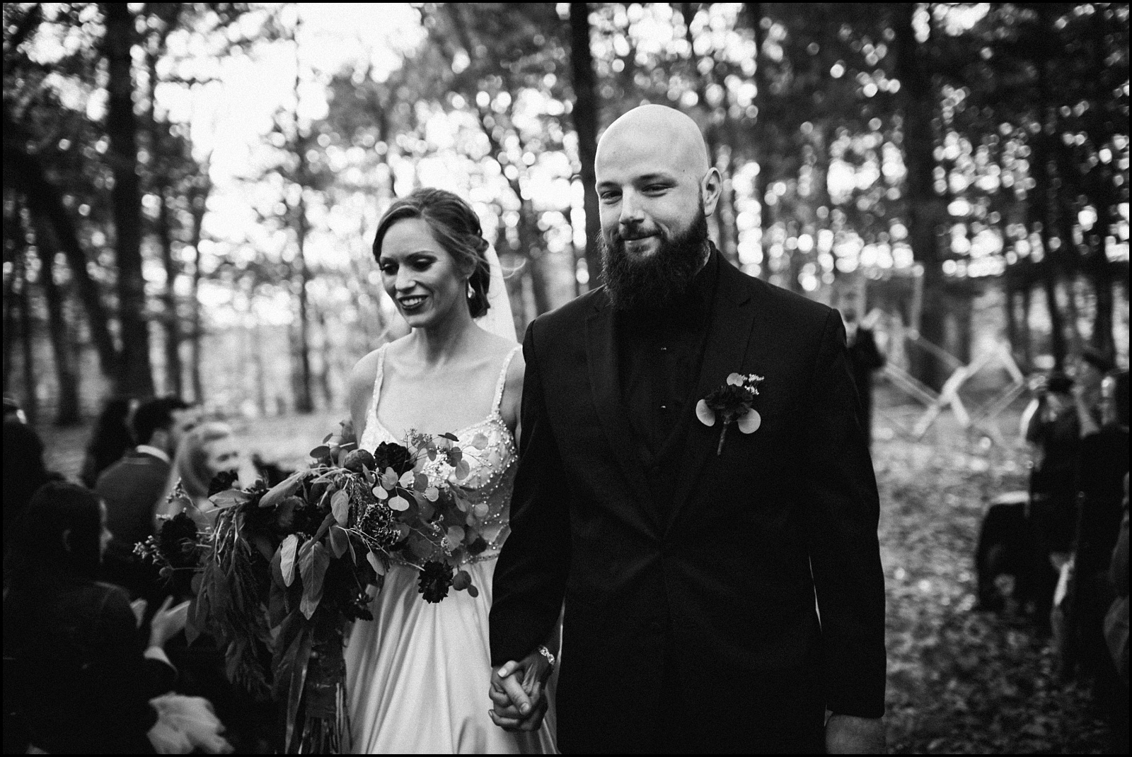 Leaving the ceremony b&W