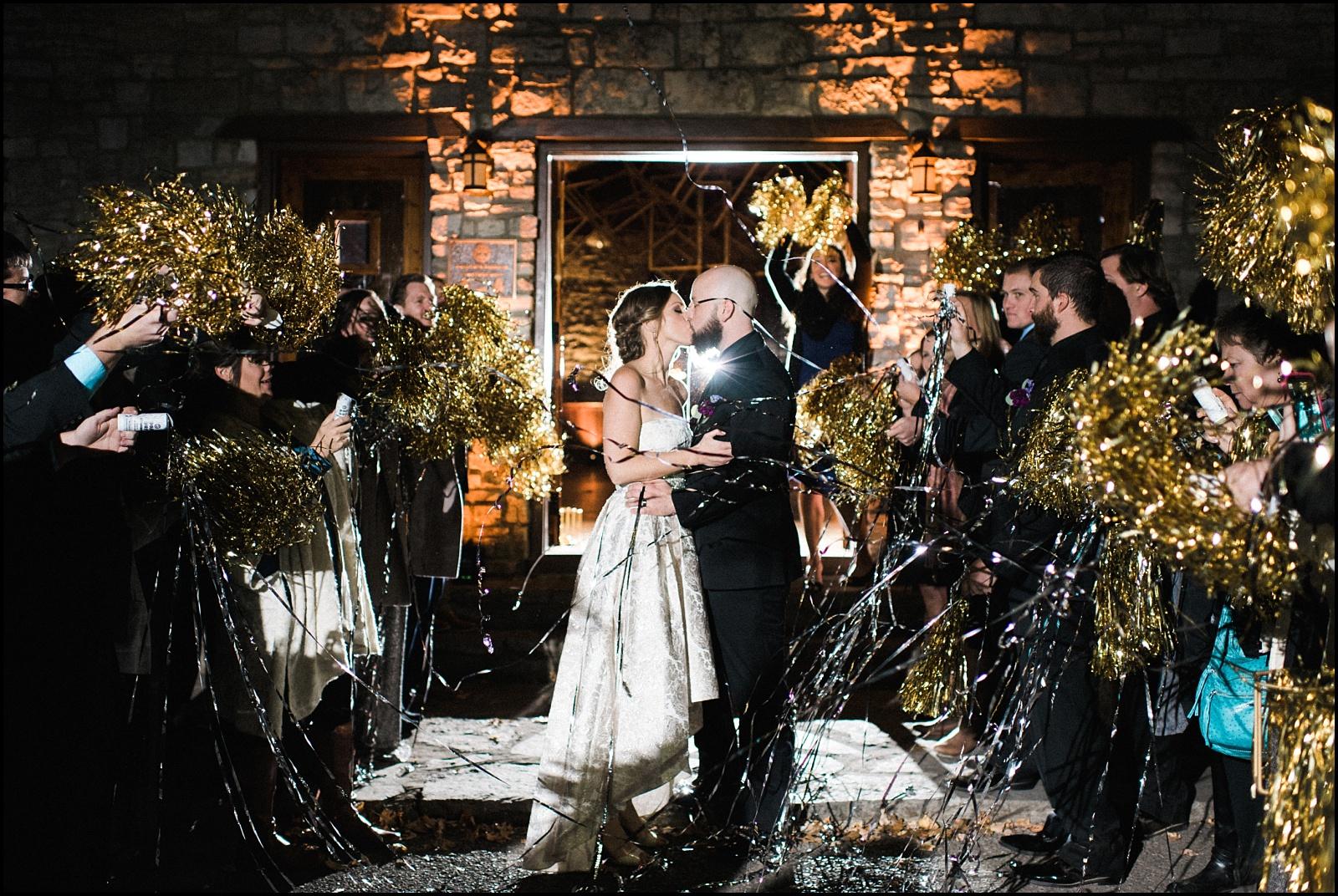 Fun wedding exit at Cedars of Lebanon State Park