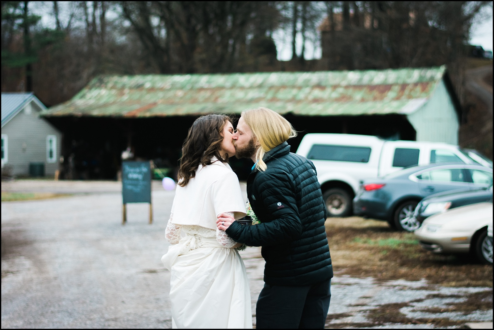 Kissing candid after wedding