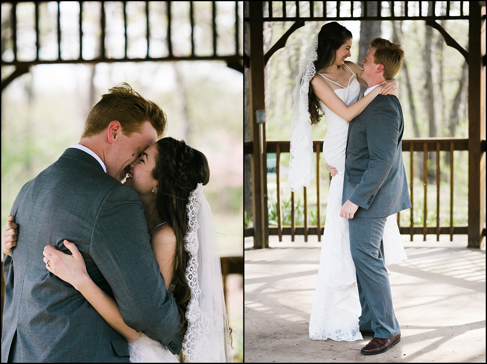 Candid portraits of first look at St Louis wedding