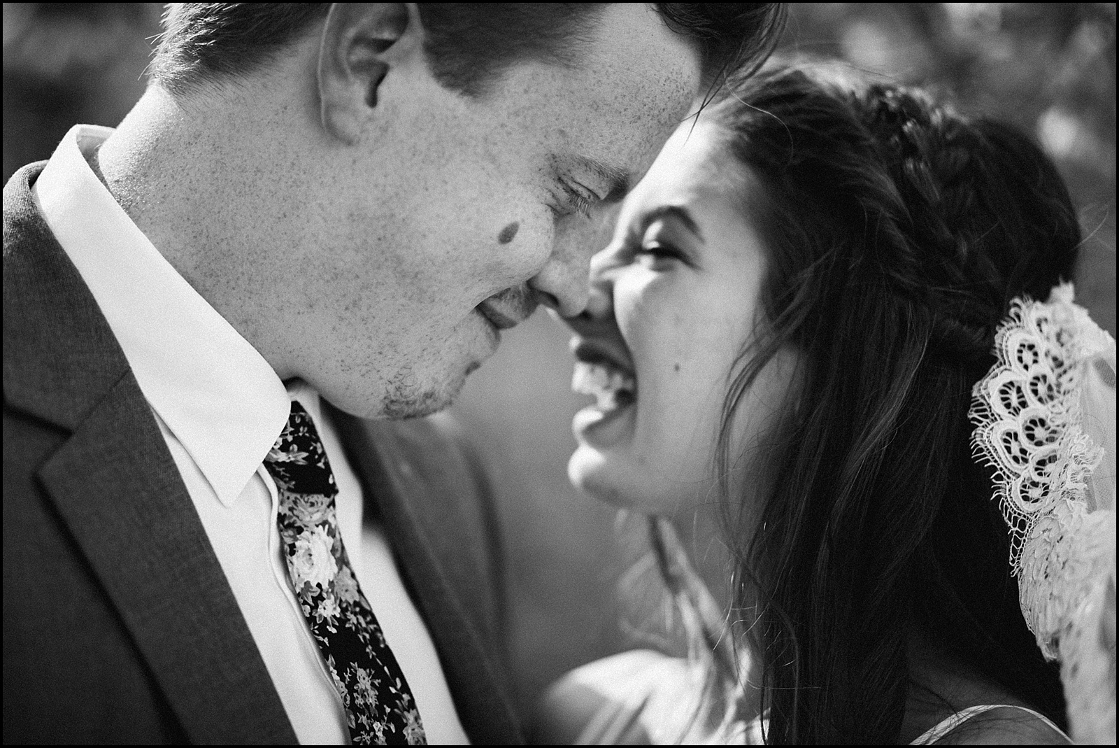 Candid black and white wedding