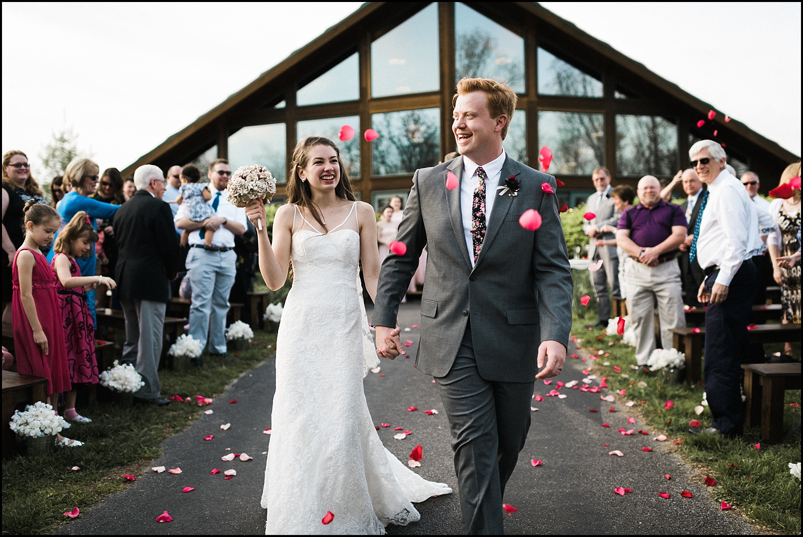 Awesome flower exit at outdoor wedding in St Louis