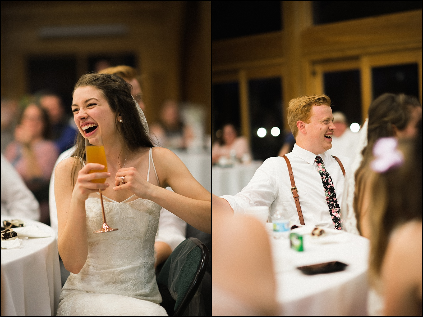 Candid laughing portraits during toast