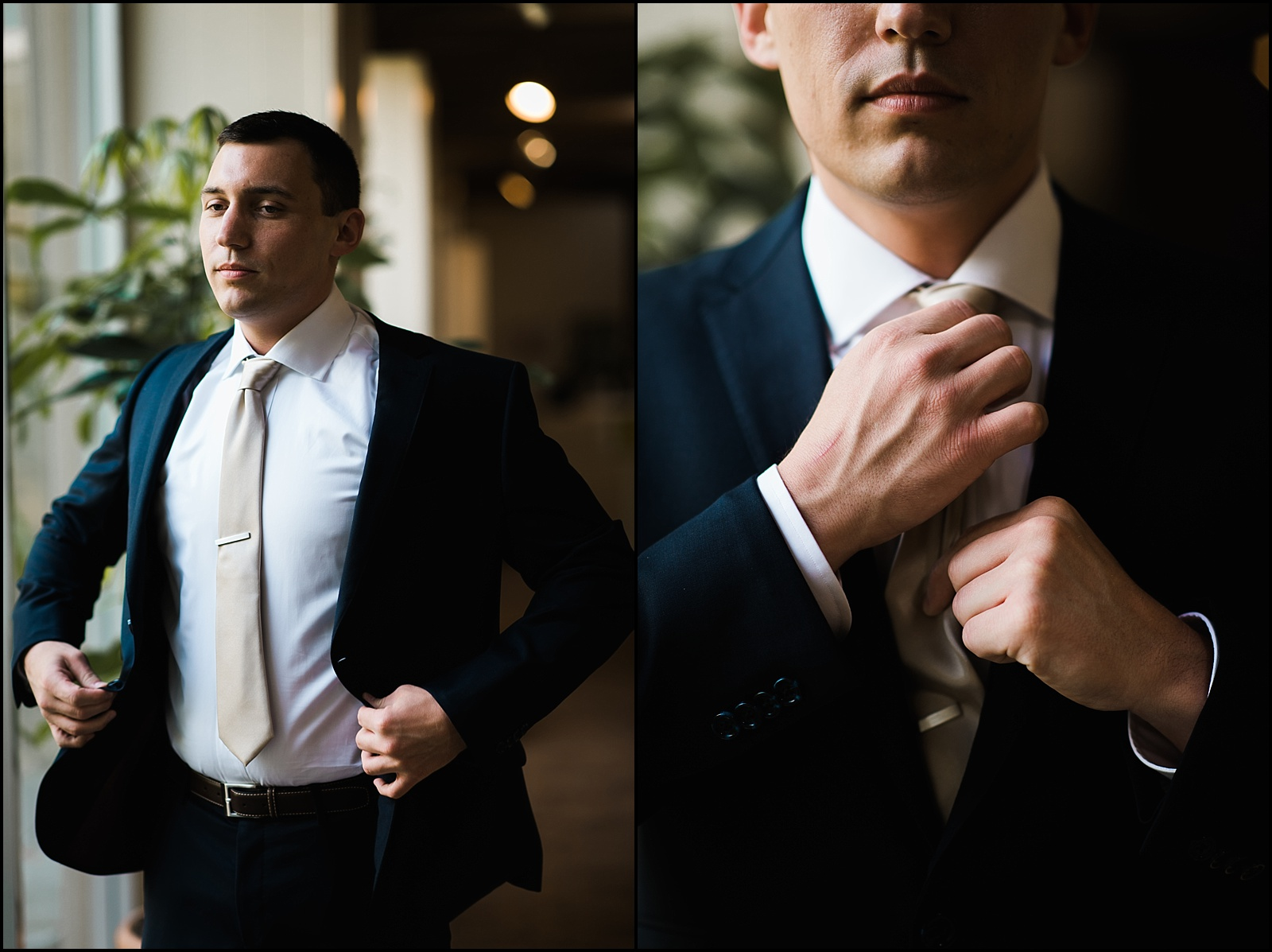 Groom putting on coat