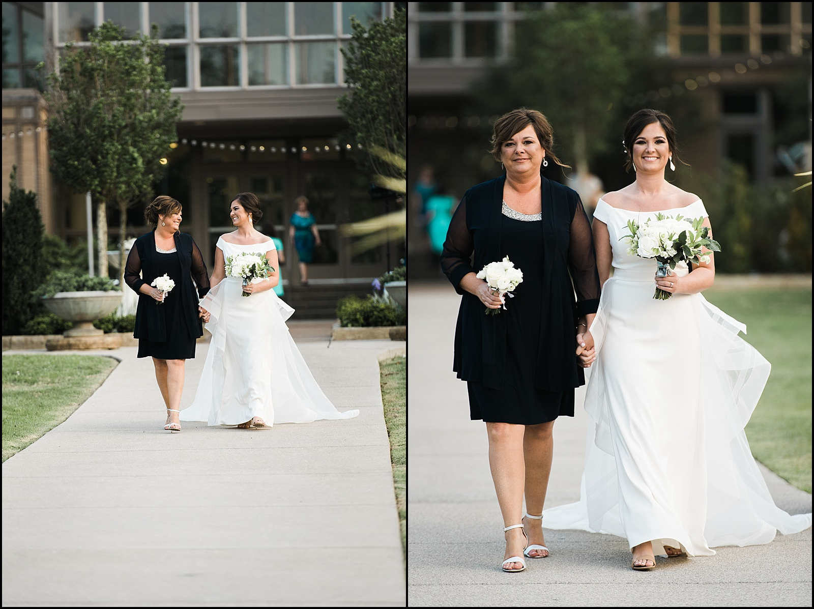 Bride and mother walking down aisle