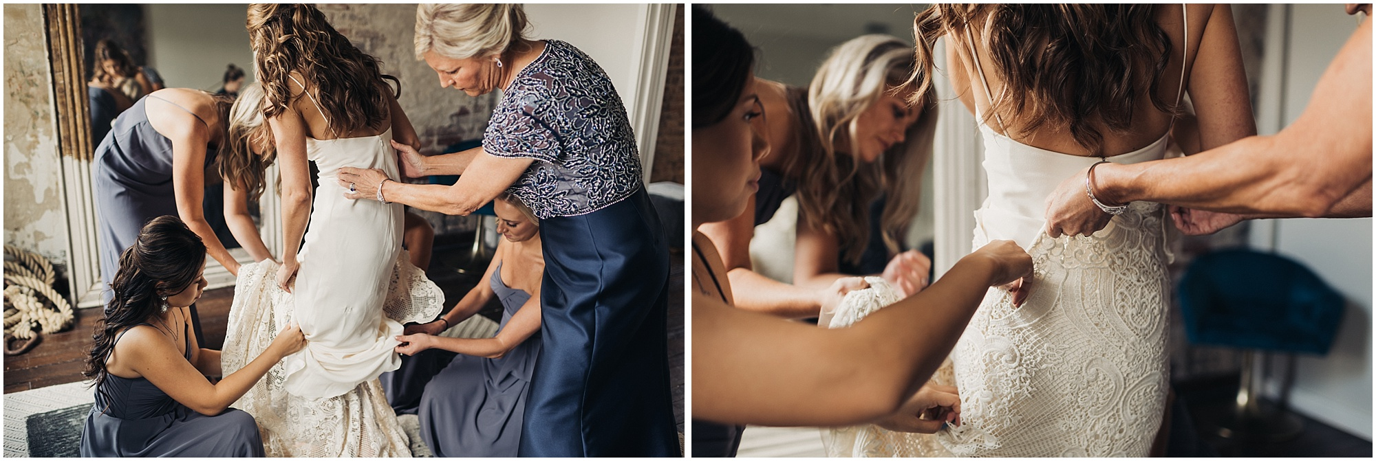 Putting on dress at the Cordelle
