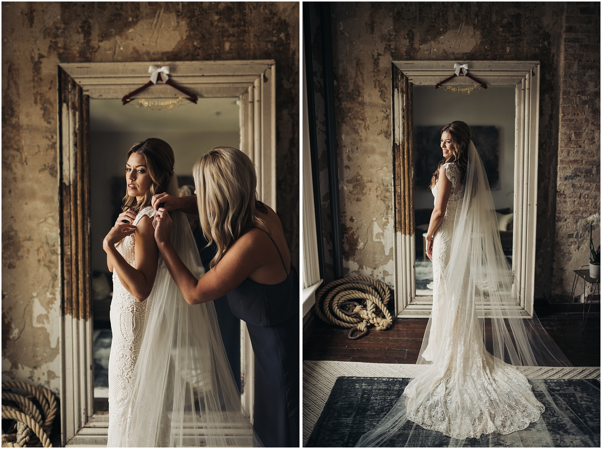 Bridal portraits at The Cordelle in big mirror