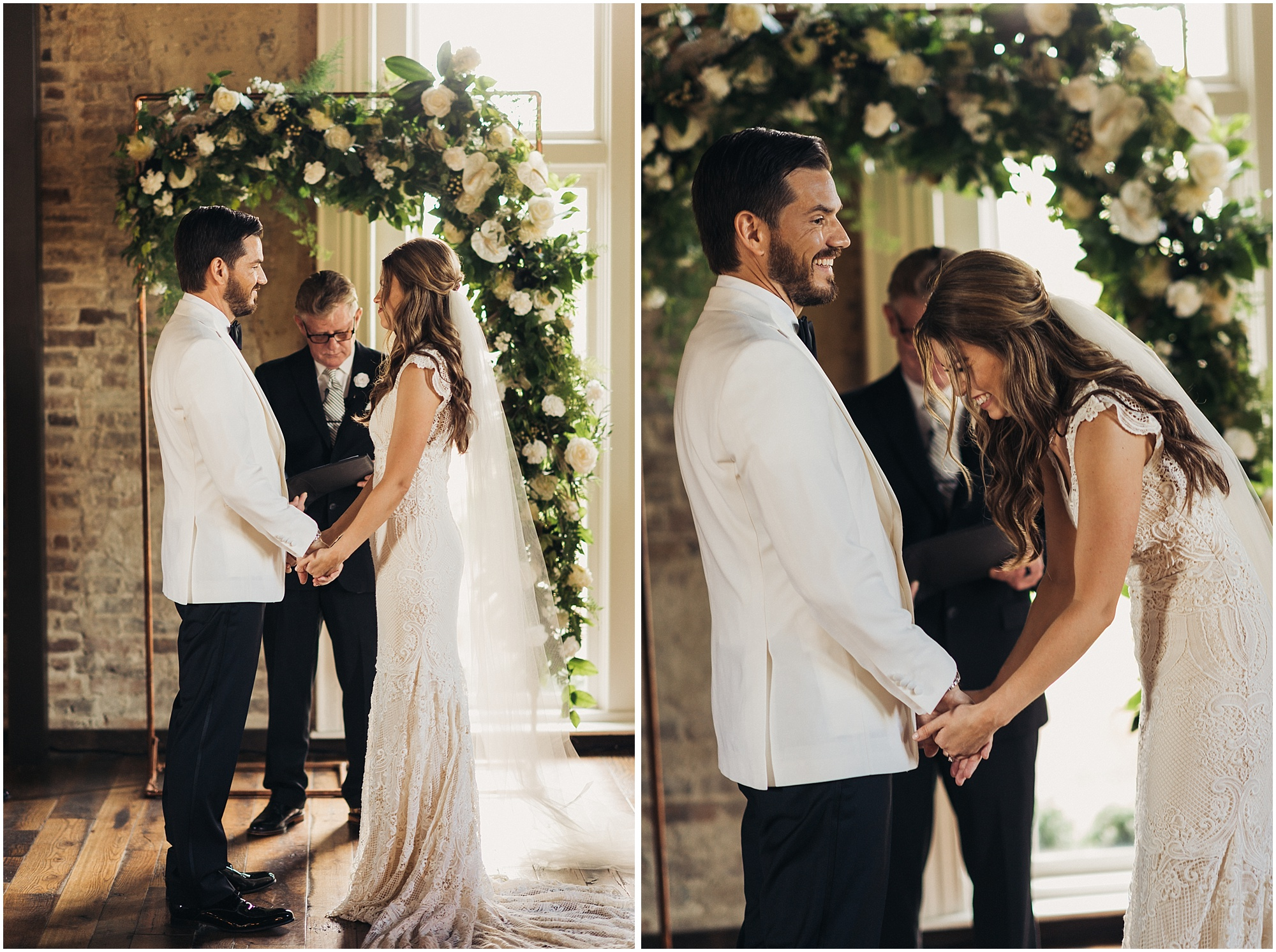 Couple laughing at altar