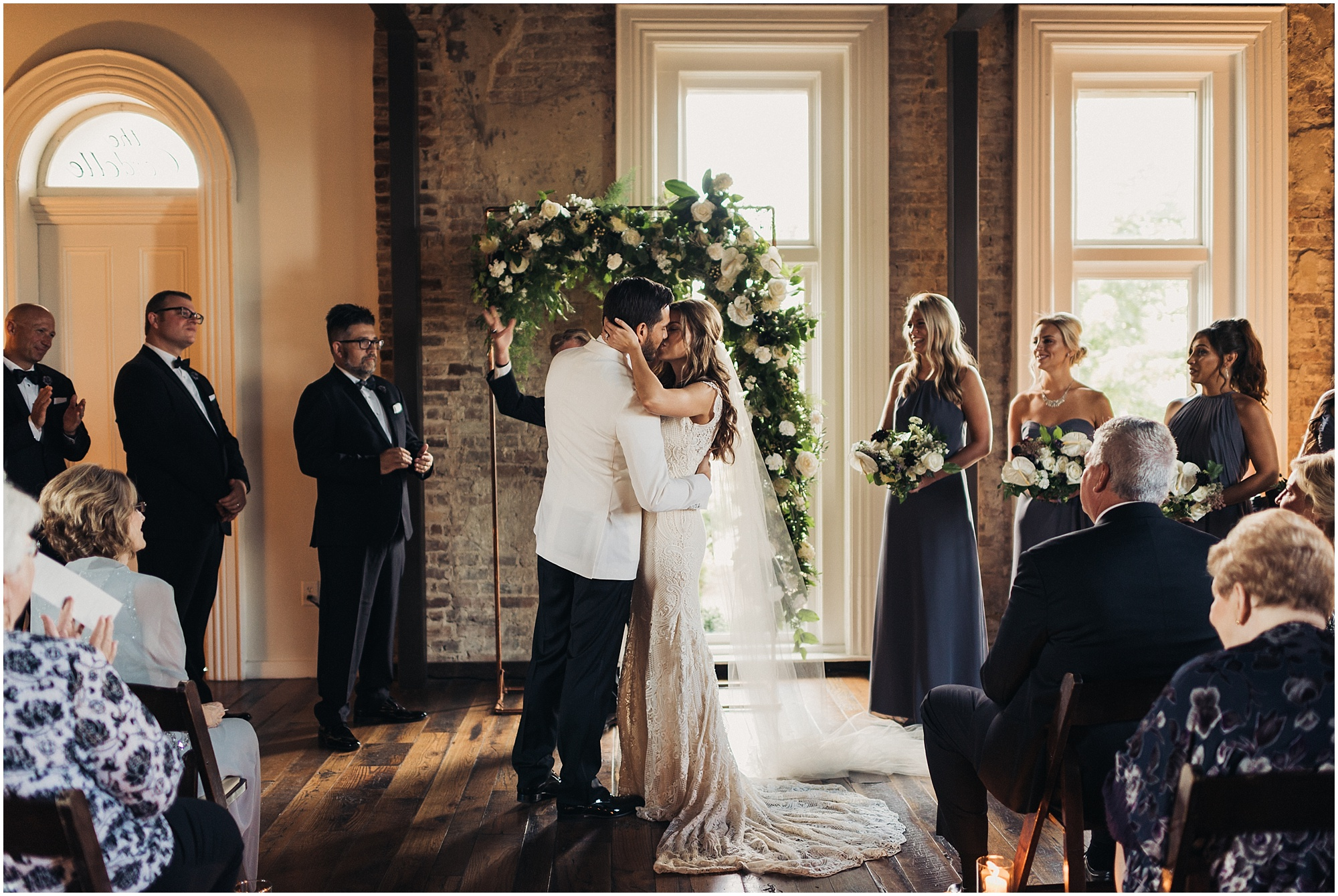 First kiss at The Cordelle Wedding