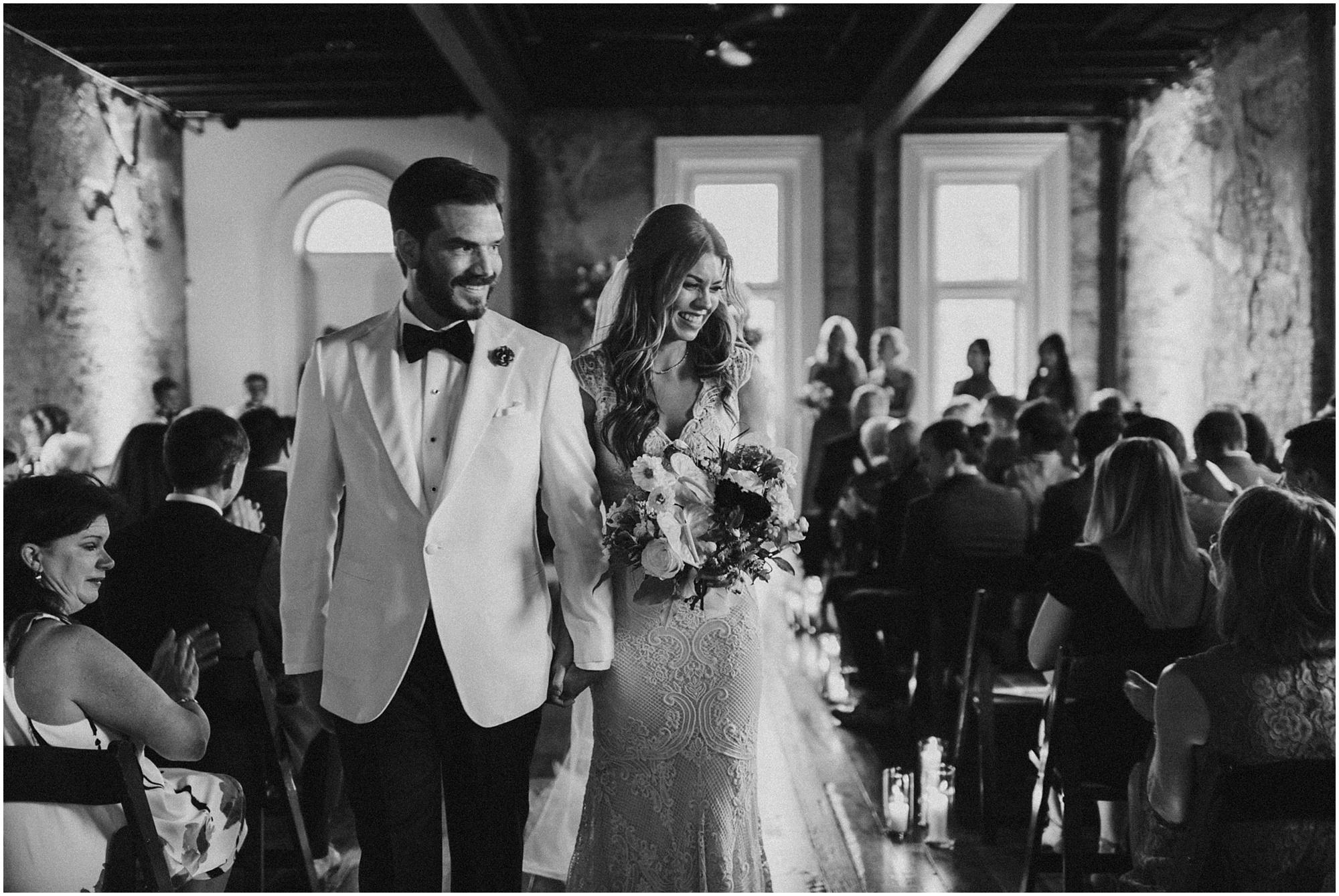 B&W wedding exit