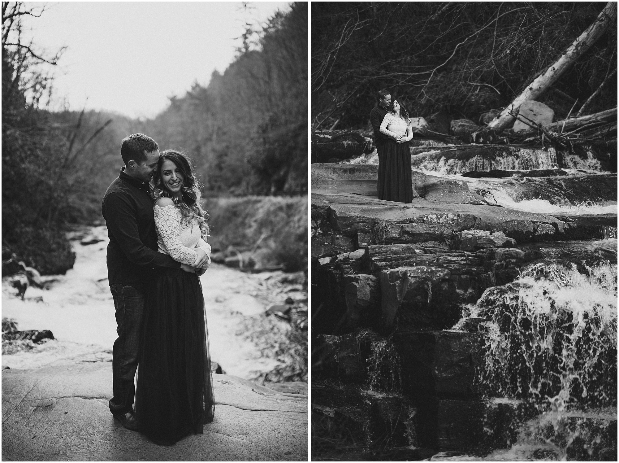 B&W photos on waterfall