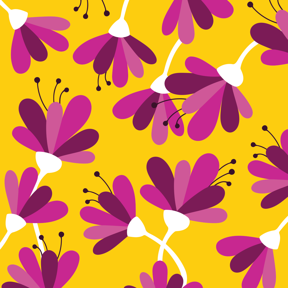 Yellow floral pattern by Pace Creative Design Studio