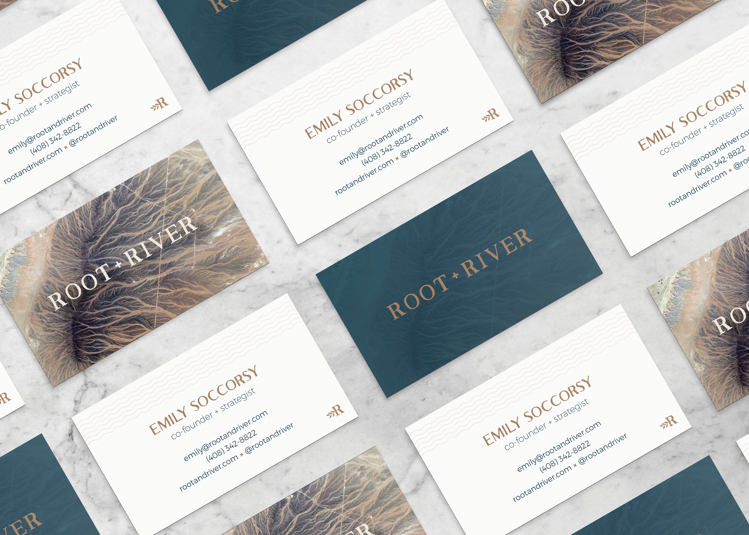 root + river business card designs by Pace Creative Design Studio