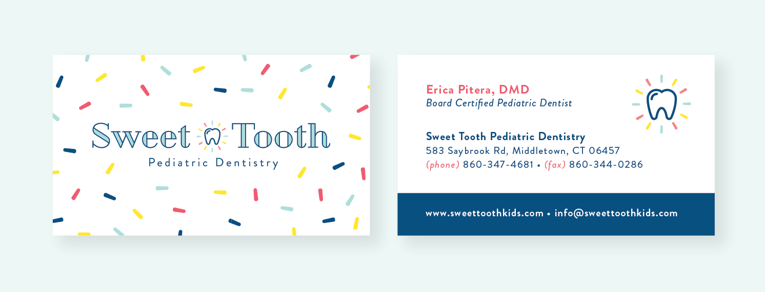 Sweet Tooth Pediatric Dentistry business cards by Pace Creative Design Studio