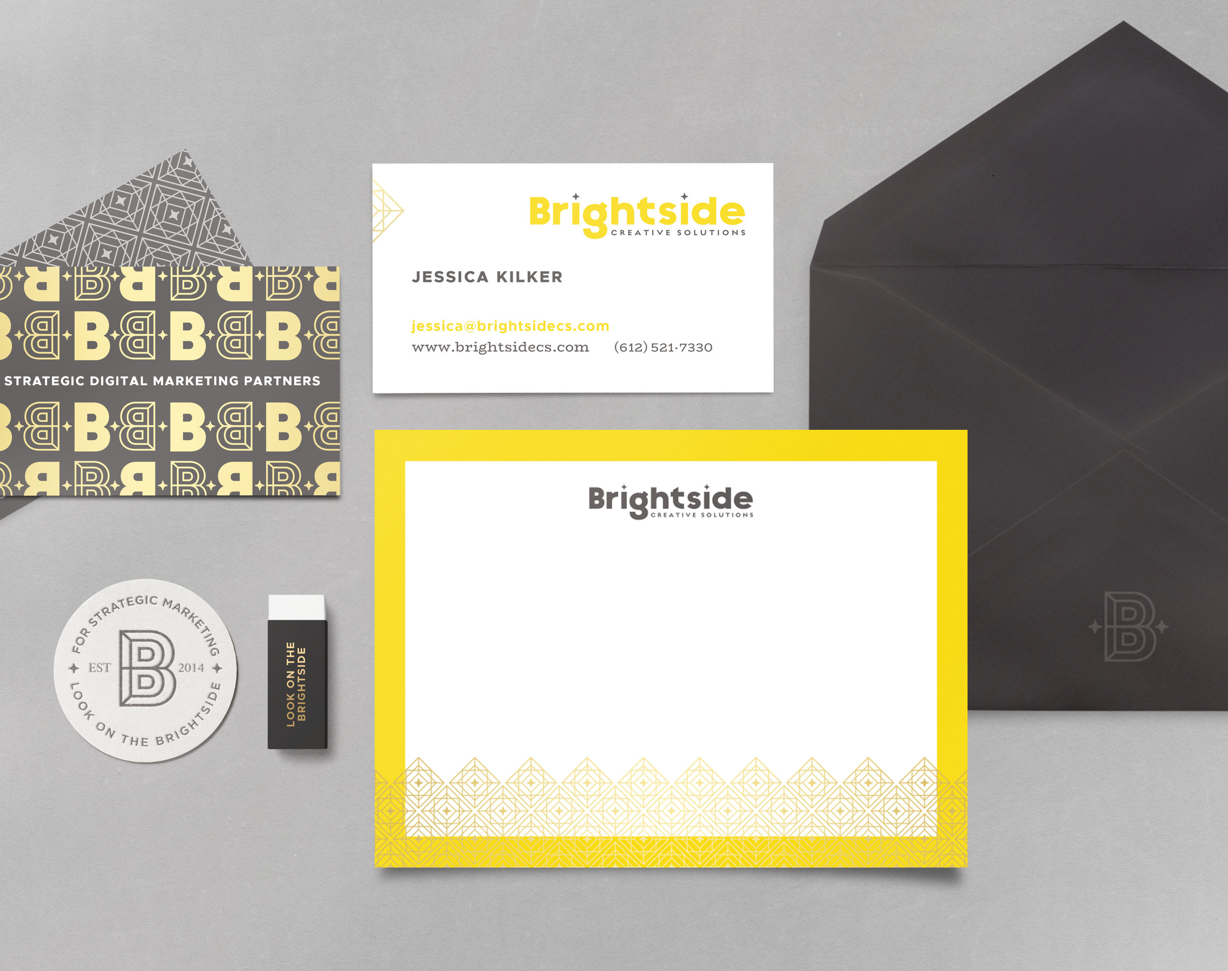 Brightside Creative Solutions brand stationery design by Pace Creative Design Studio