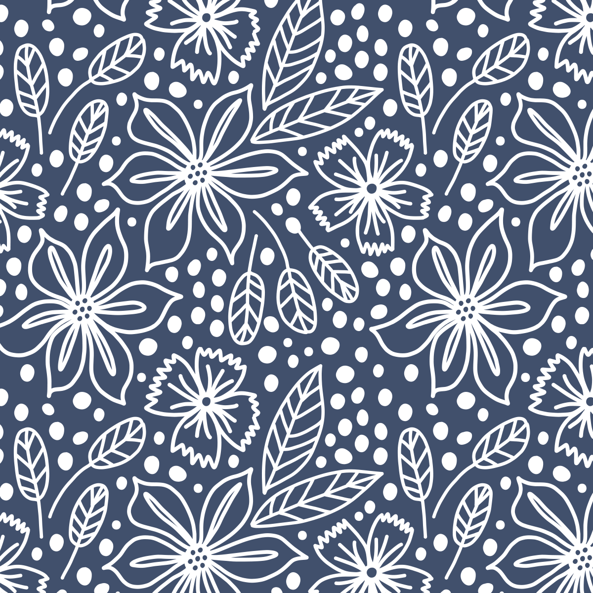 Navy floral pattern by Pace Creative Design Studio