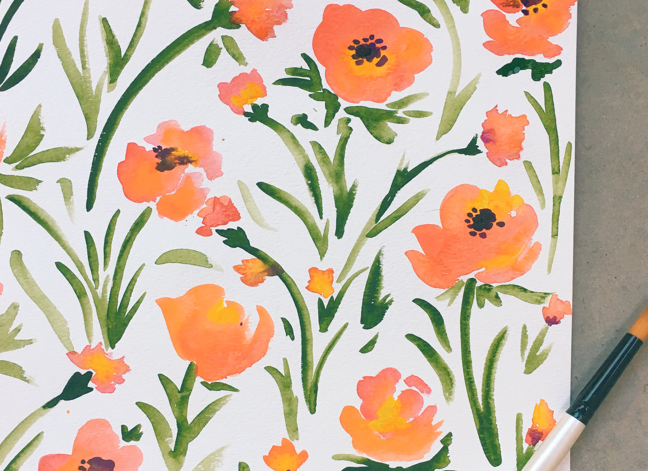 Watercolor poppies by Pace Creative Design Studio