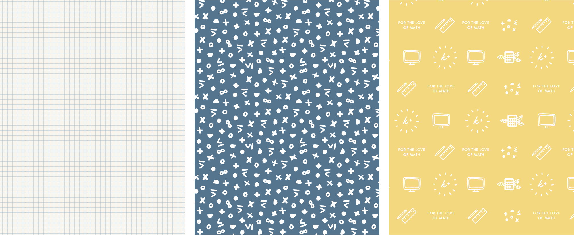 Krista King Math brand pattern designs | Brand design project created in collaboration between Spruce Rd. and Pace Creative Design Studio