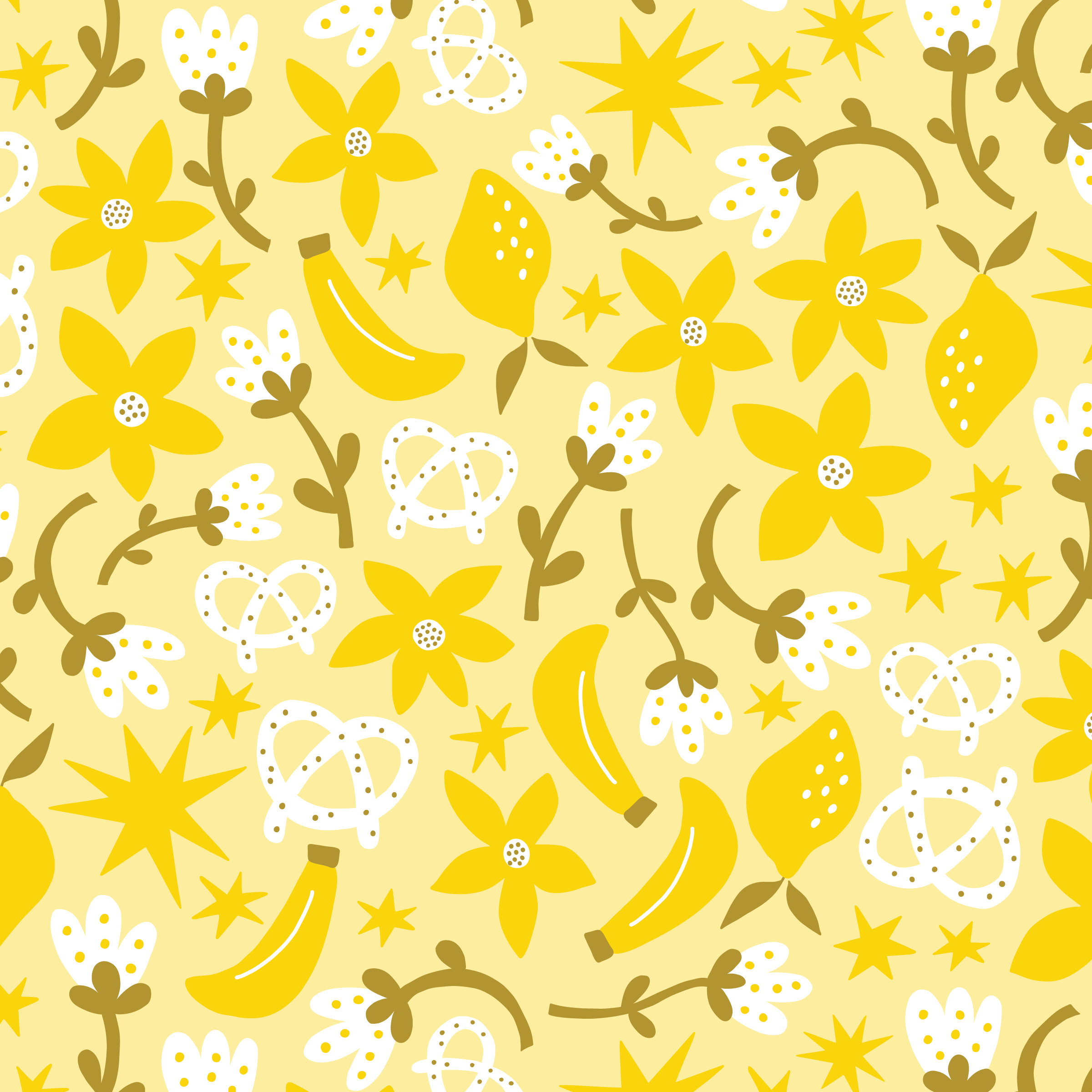 Lemon Pretzel Banana pattern by Jen Duran of Pace Creative Design Studio | Designed for the series Color Diaries: Yellow