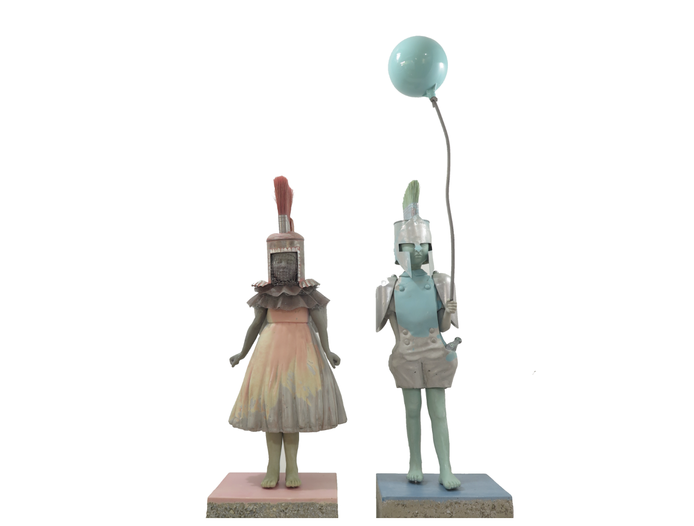 Haidee Nel Artwing  'Boy & Girl' from Infantry Series. Ed.22 Year: 2106 Size: 29 x 24 x 57 cm(h) each. Mixed media: cement, resin, marble dust, spoons, brush, coffee tins, forks, plumbing materials  $7.600
