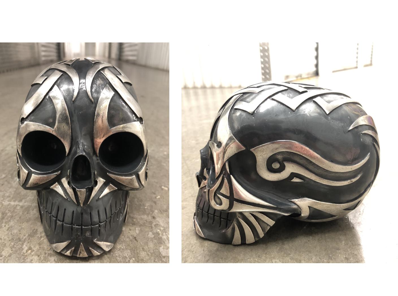 "Enrique Cabrera 'Masterpiece Skull'  Medium: pure silver $10.000. Size: 4"" (width) x 6"" (height)."