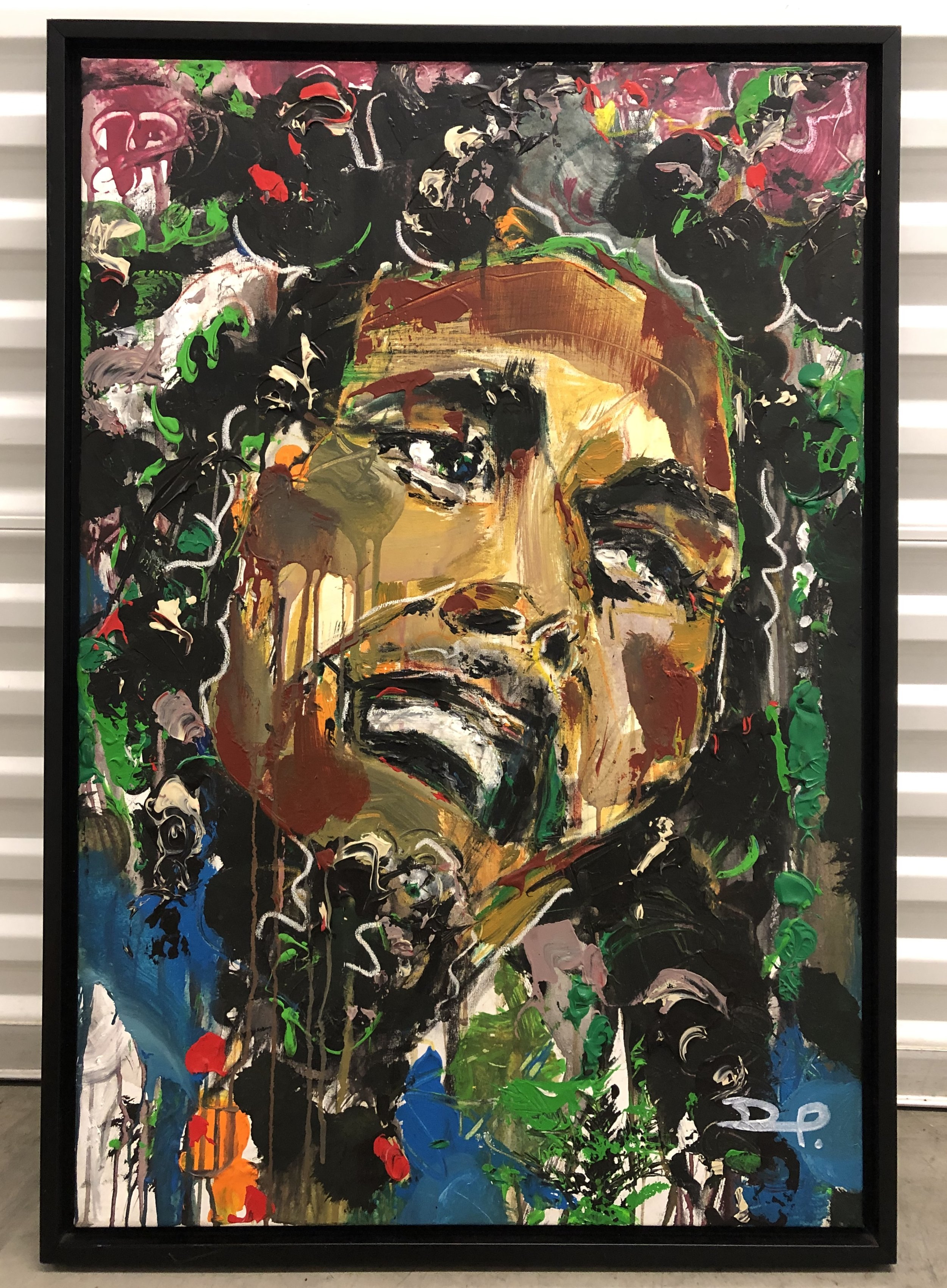 "David Banegas 'Bob'   Mixed media.     Size w/o frame 37"" x 25"". Year: 2013. $3.500"