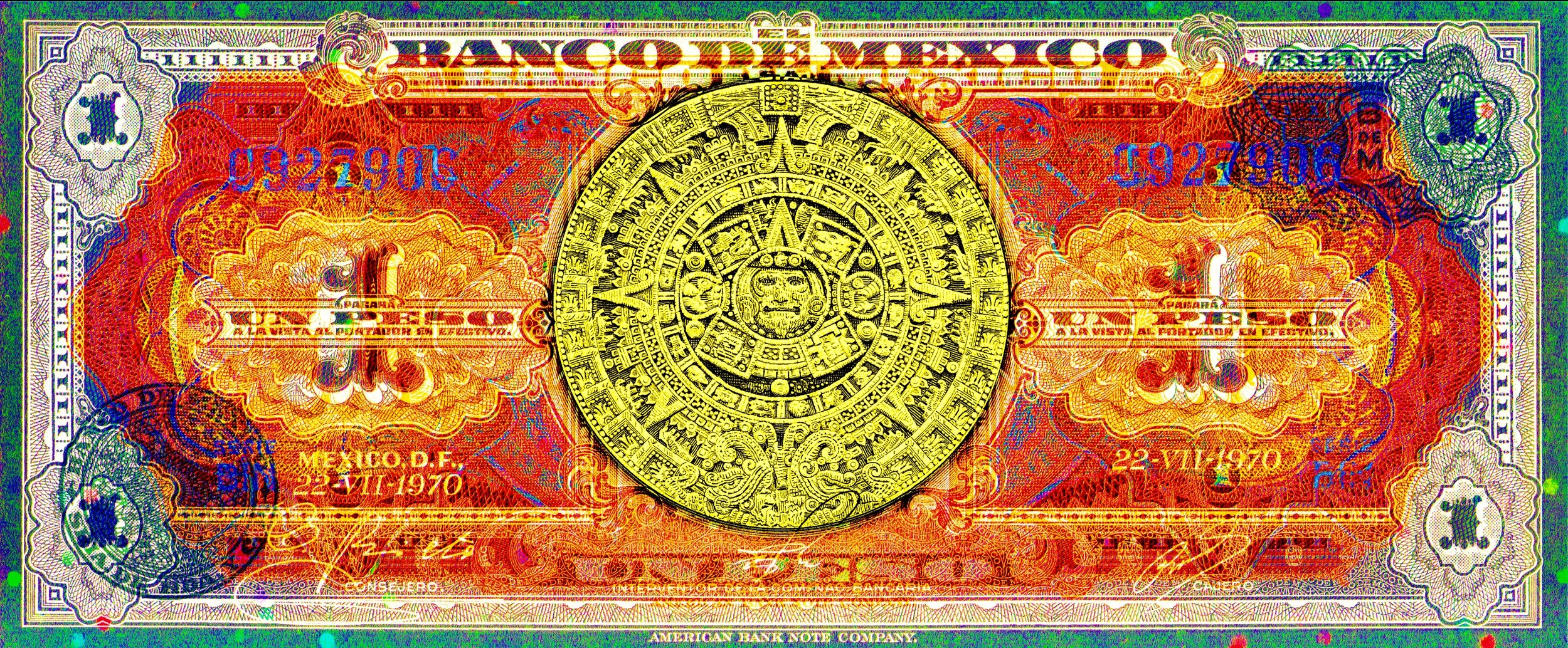 "TRAN$PARENT Artist  'Mayan Peso' Size: 24"" x 58"" Artist proof 5/5 Museum mount. $8.500"