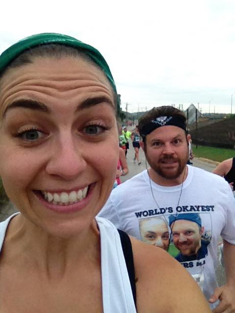When you're the World's Okayest Runners like us, you're allowed to take selfies during your marathon.