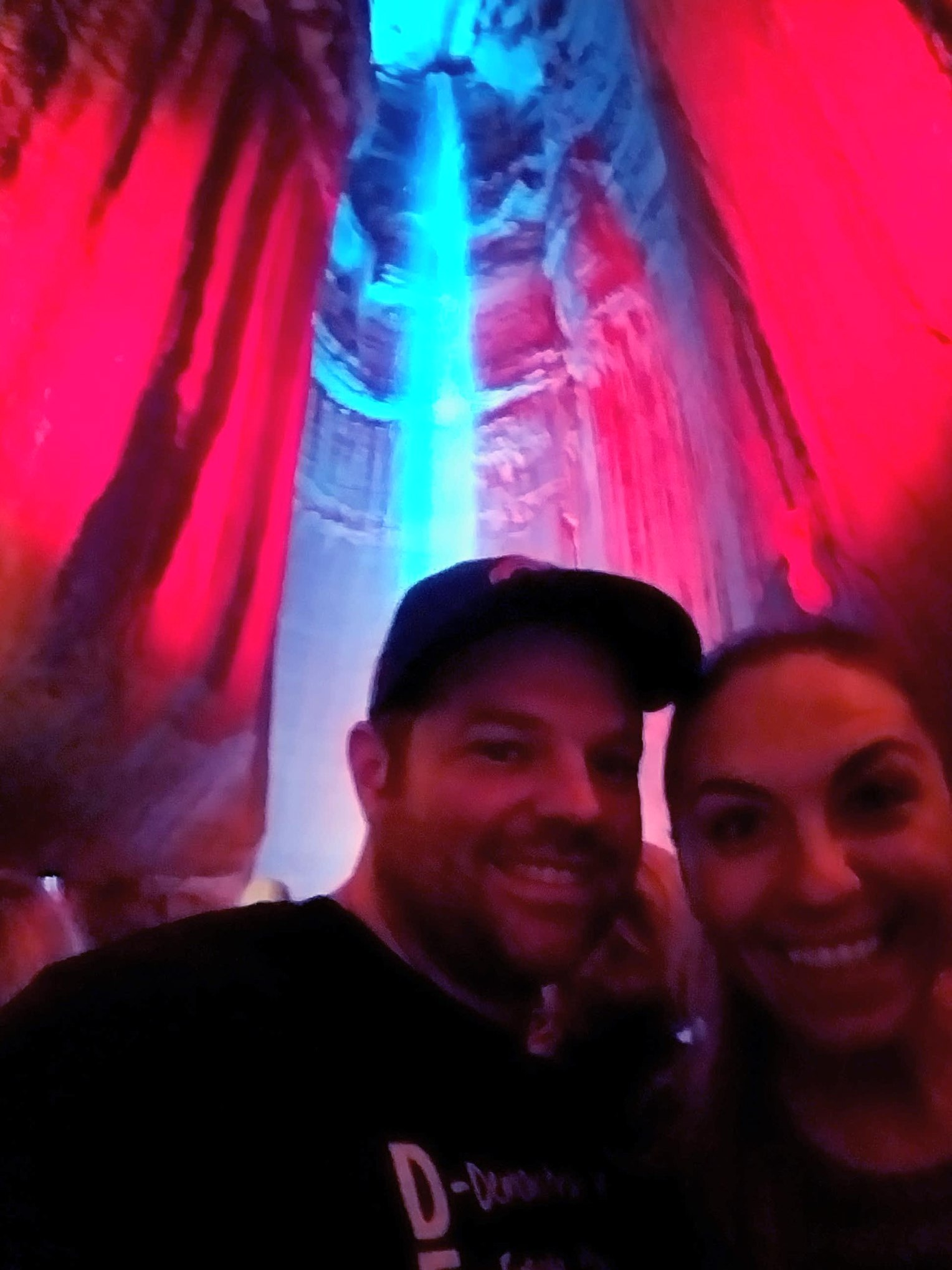 A little blurry... us at the Ruby Falls!