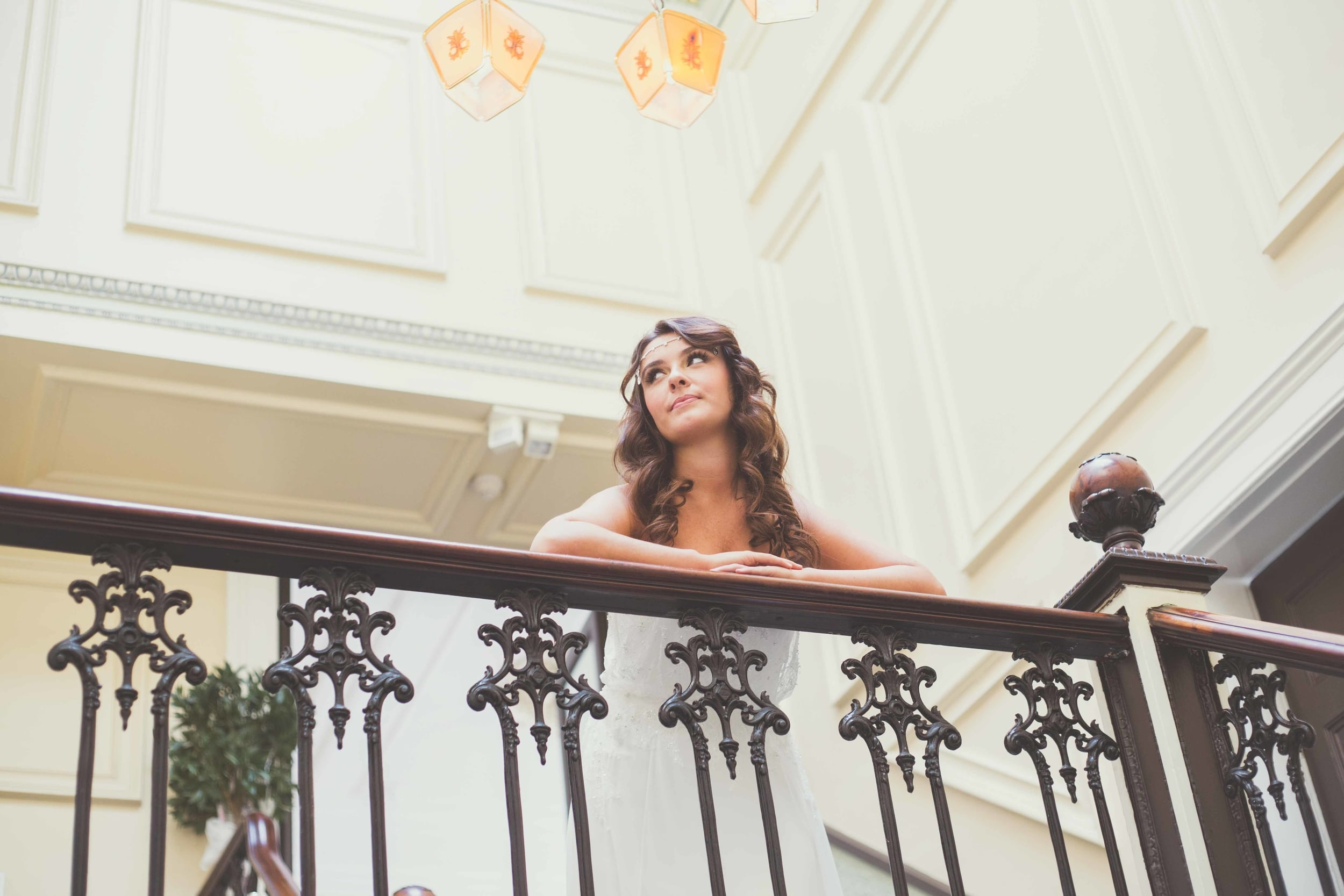 A bride by the staircase