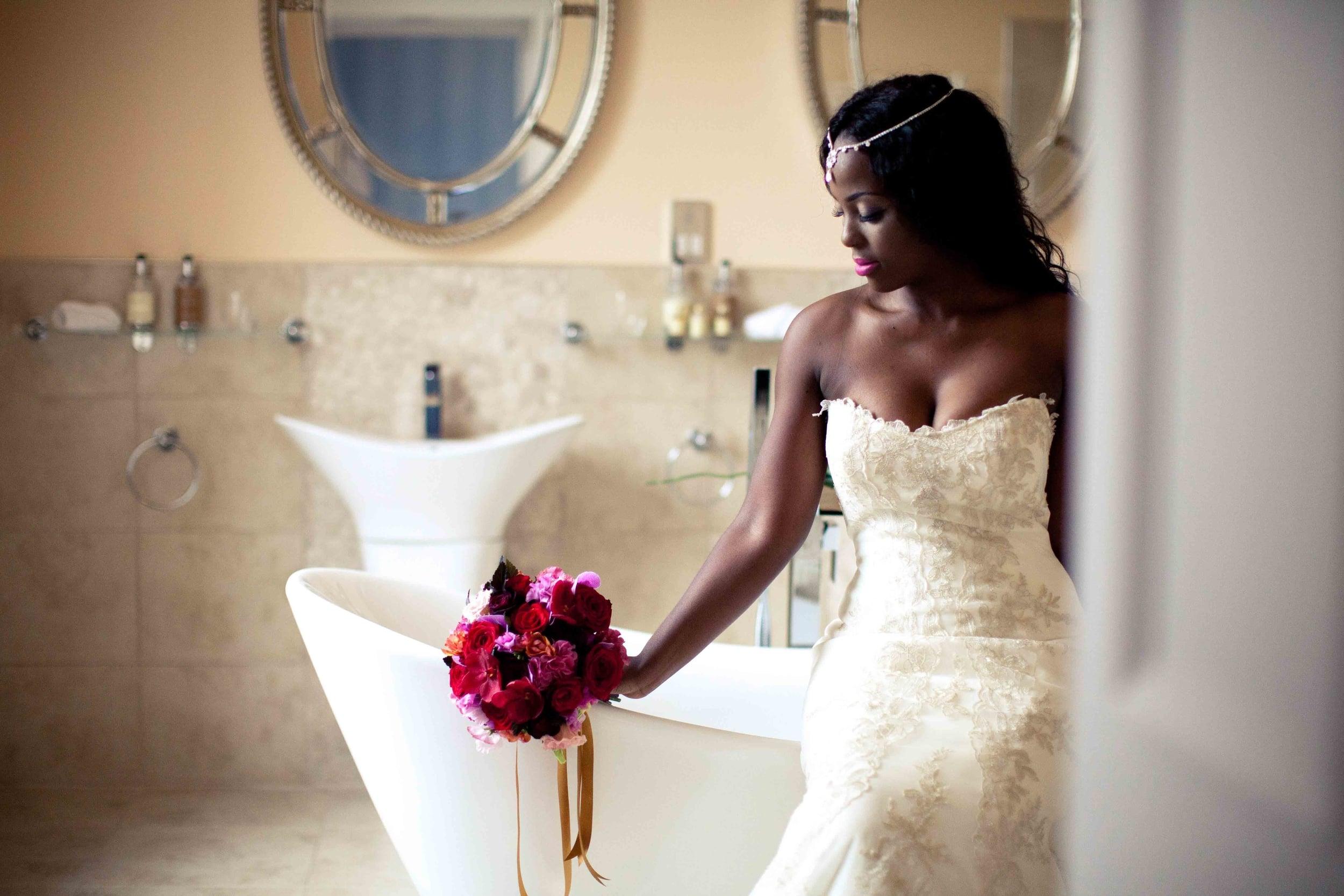 bride in the bathroom suite