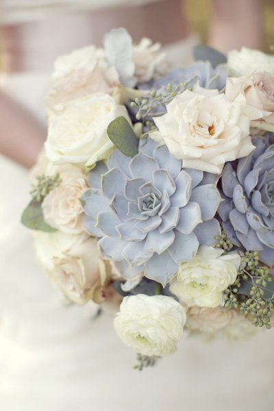 pastel blue bridal bouquet