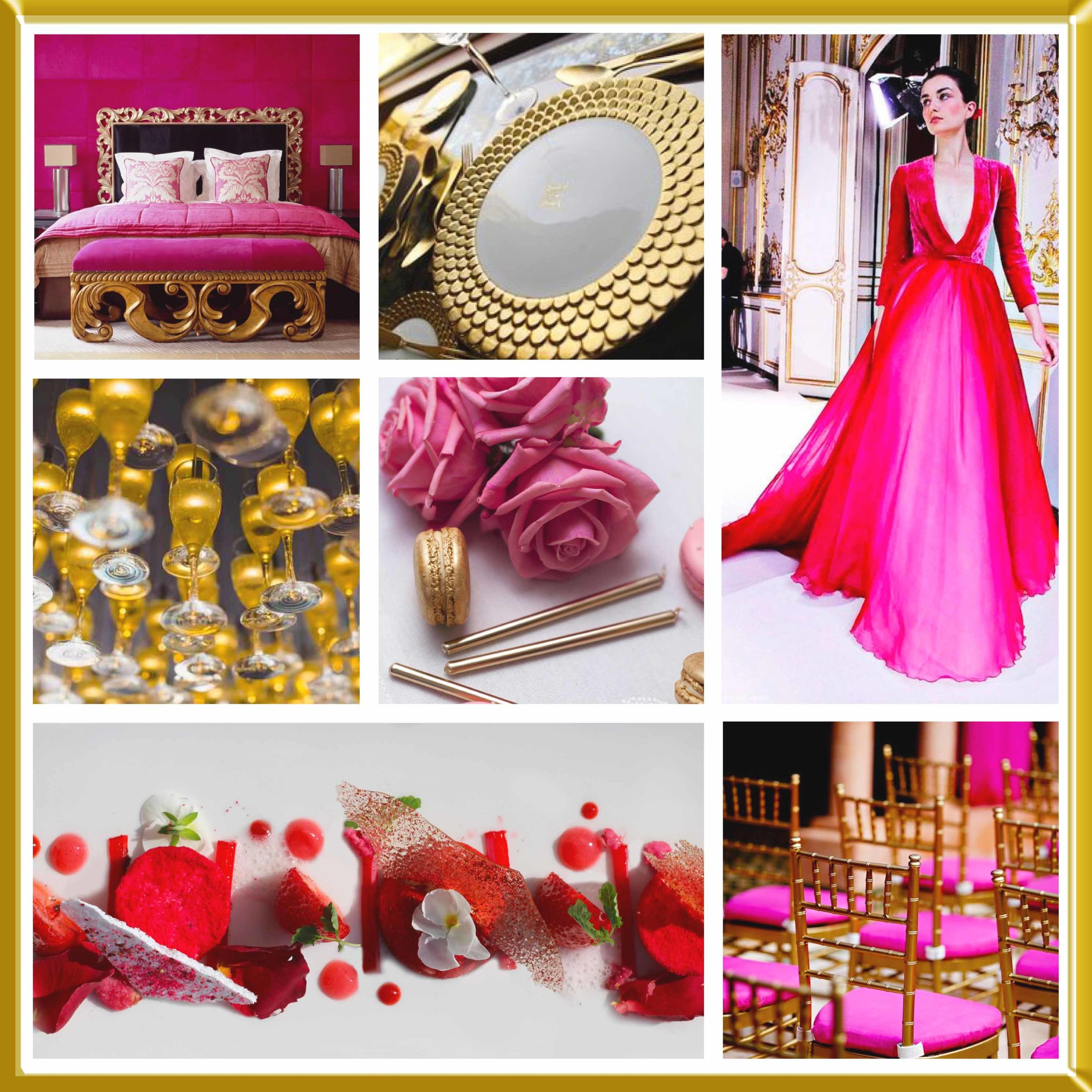 Pink and Gold wedding inspirational board.