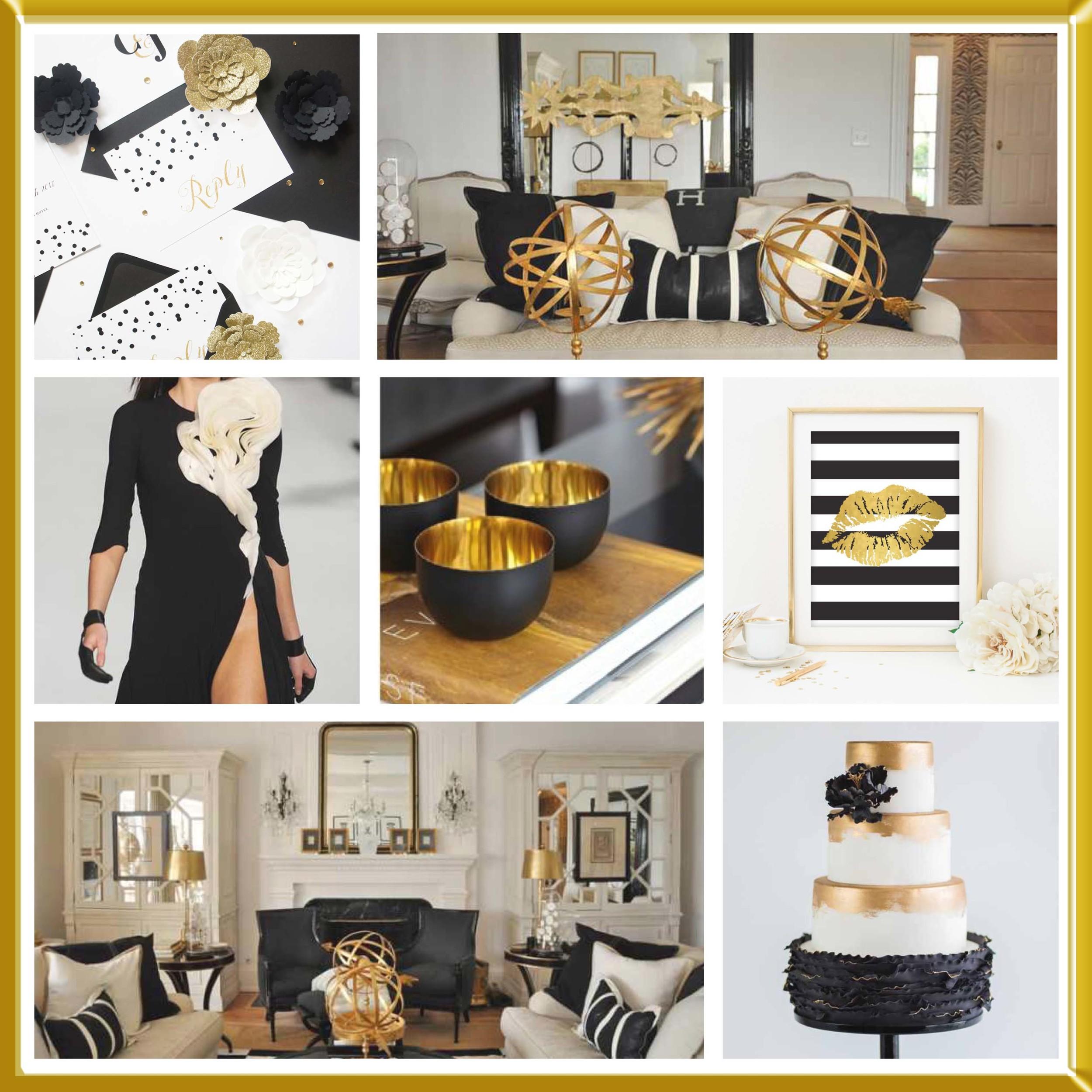Gold, Black & White wedding inspirational board.