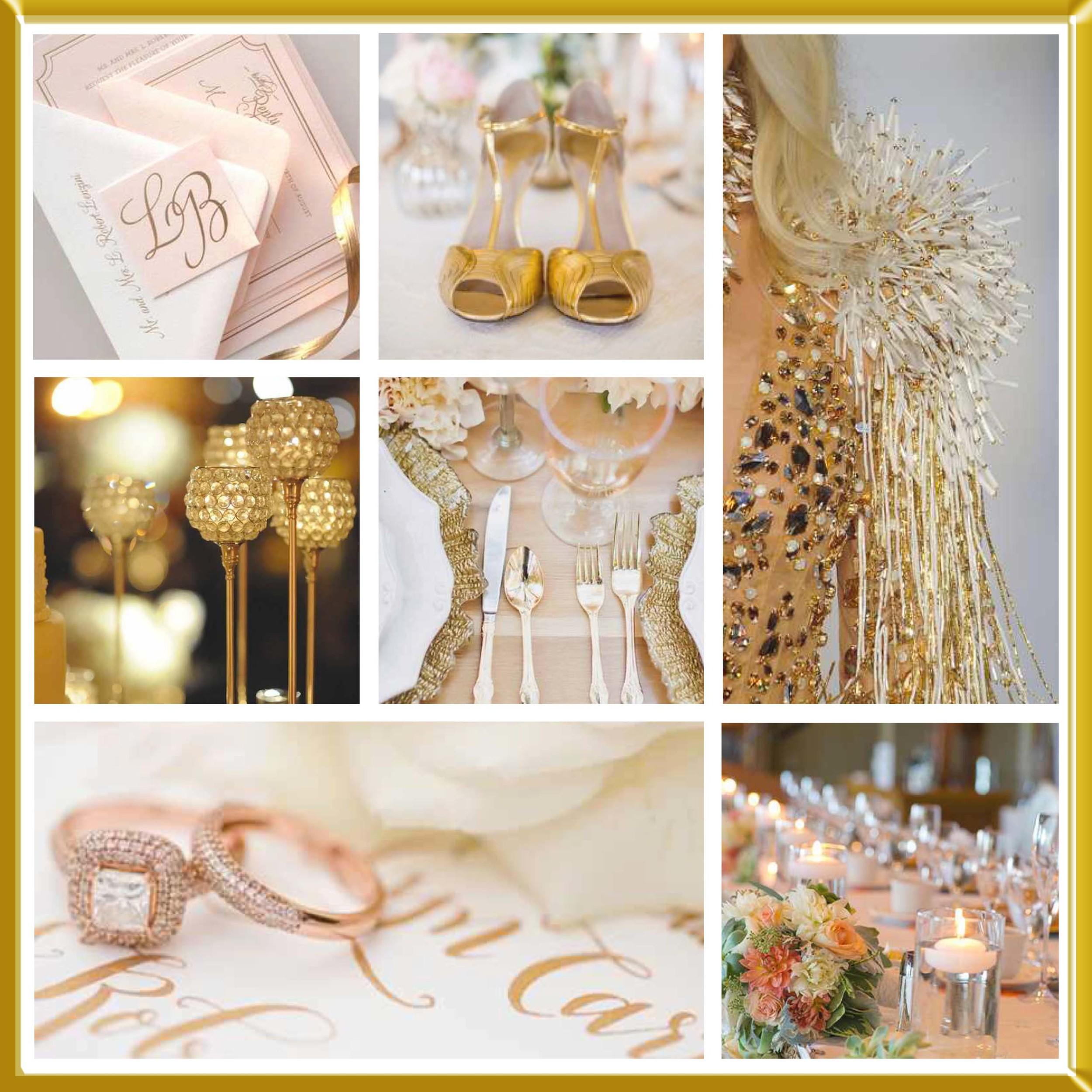 Rose Gold wedding inspirational board