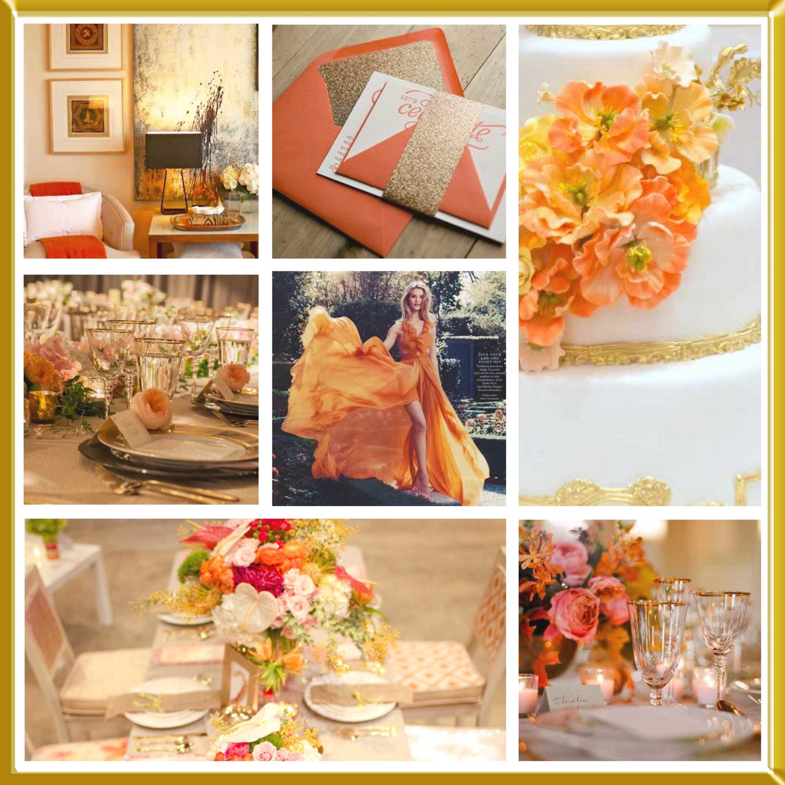 Orange and Gold wedding inspirational board