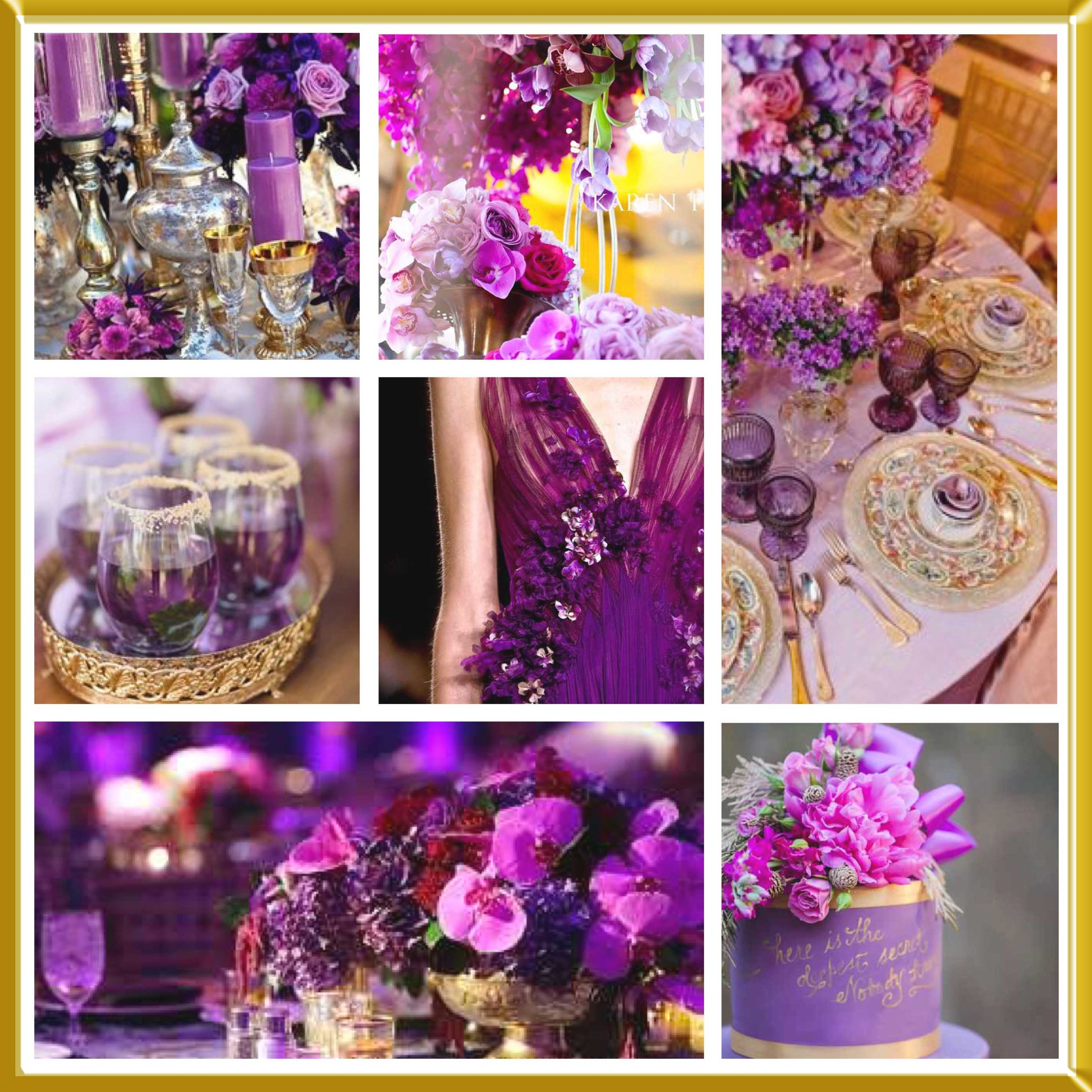 Violet and Gold wedding inspirational board