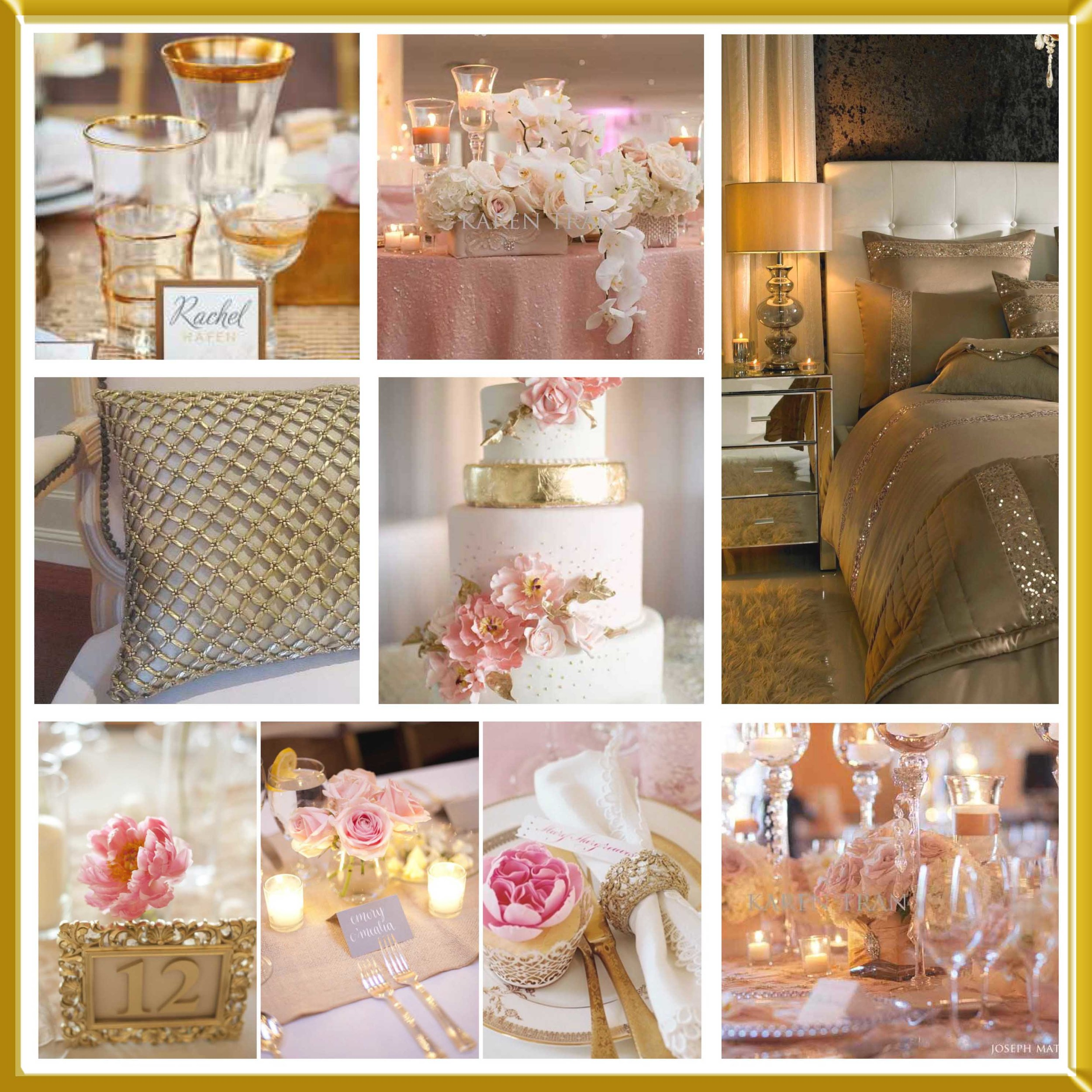 Baby pink and gold wedding inspirational board.
