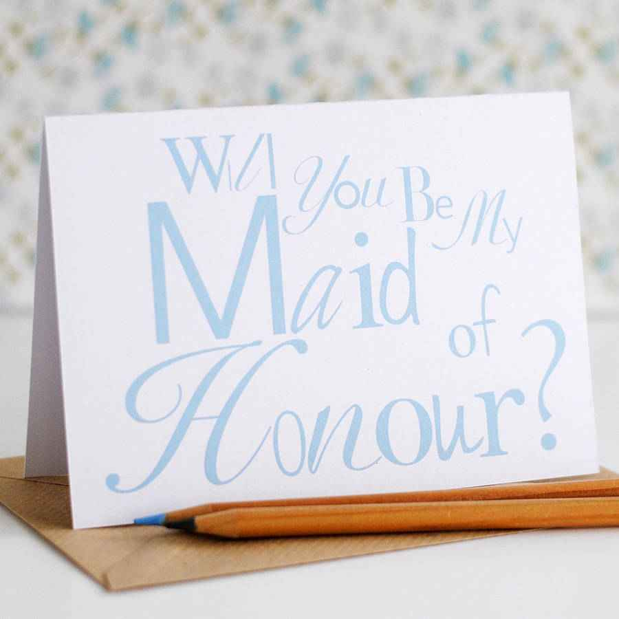 maid of honour place card